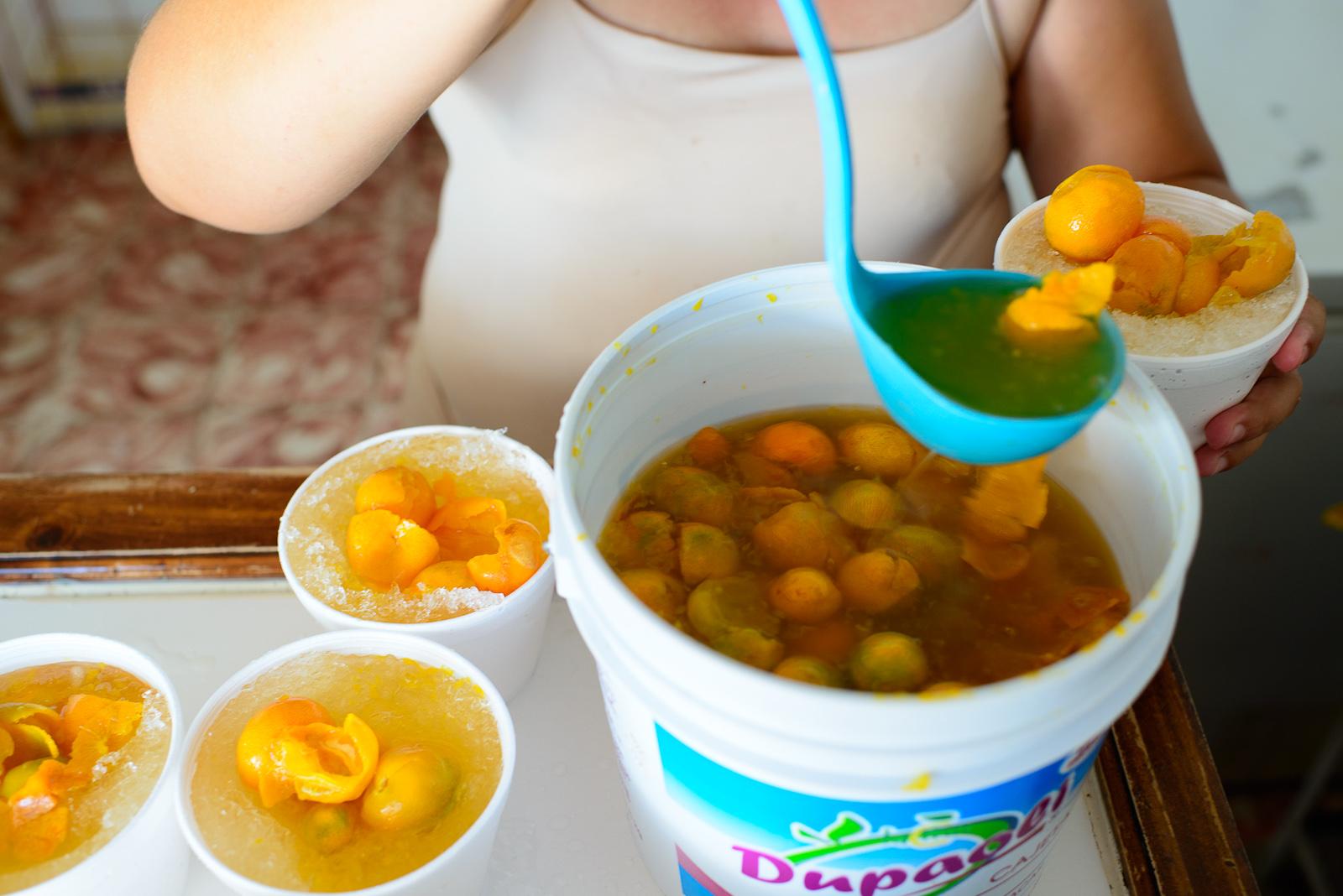 Naranjitas, small bitter oranges soakedin syrup