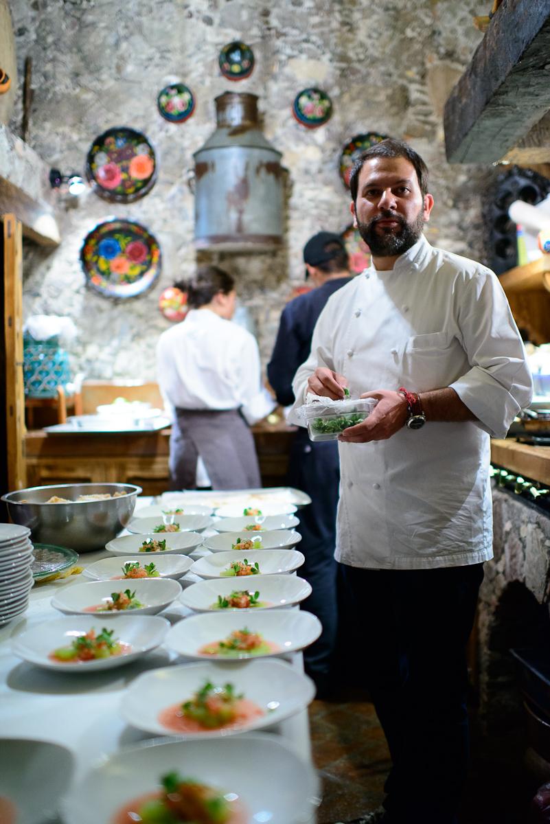 Chef Enrique Olvera in the kitchen of Casa Dragones