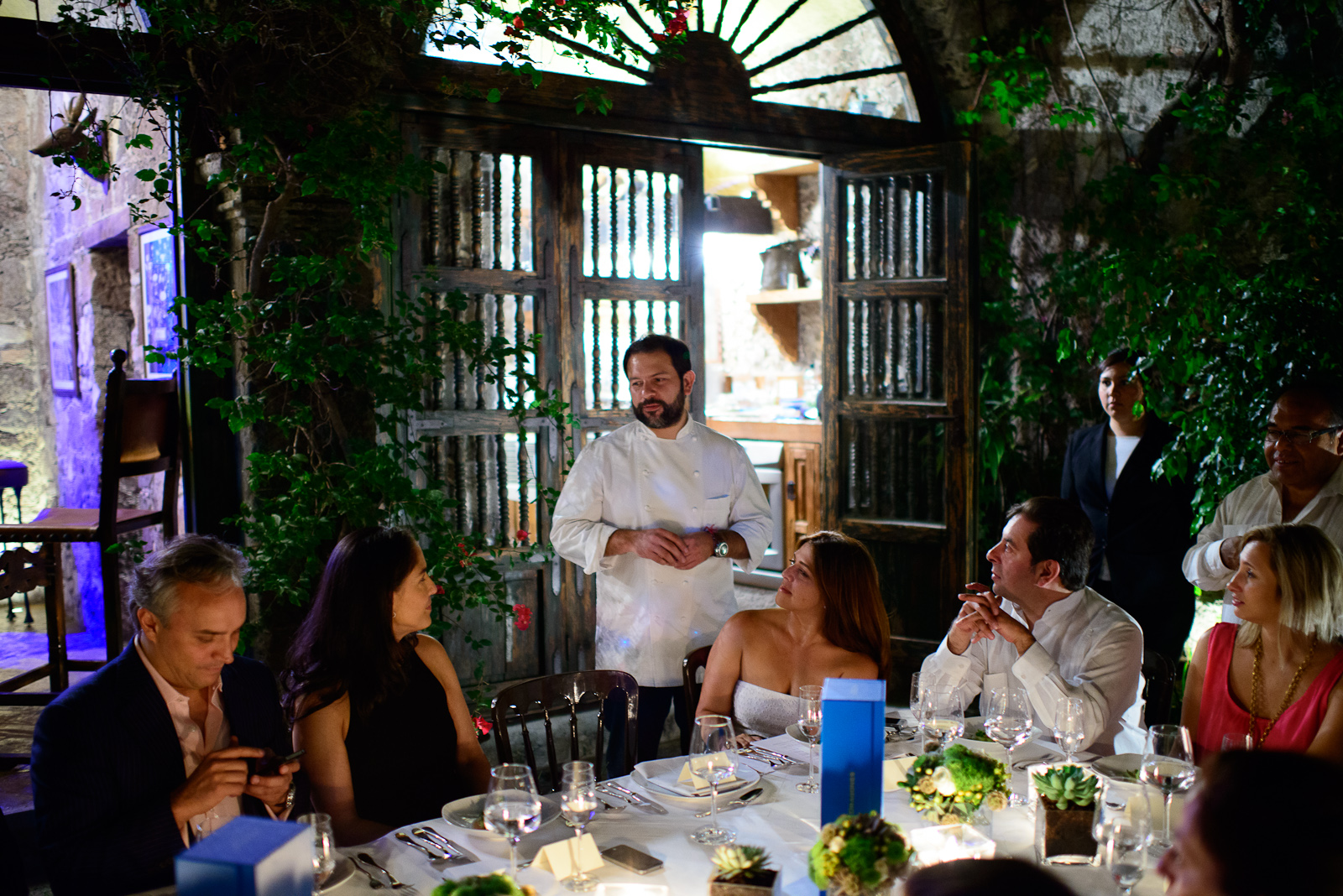 Chef Enrique Olvera explaning the 1st course