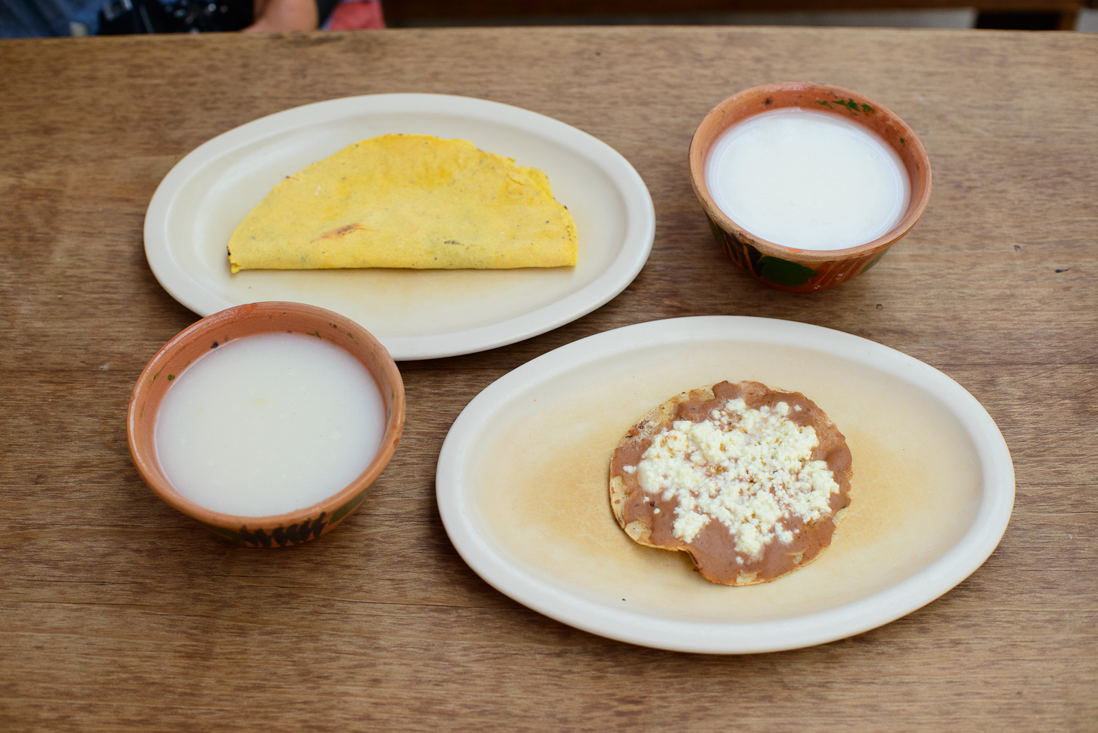 Oaxacan breakfast - atole blanco, quesadilla de maíz, memela co