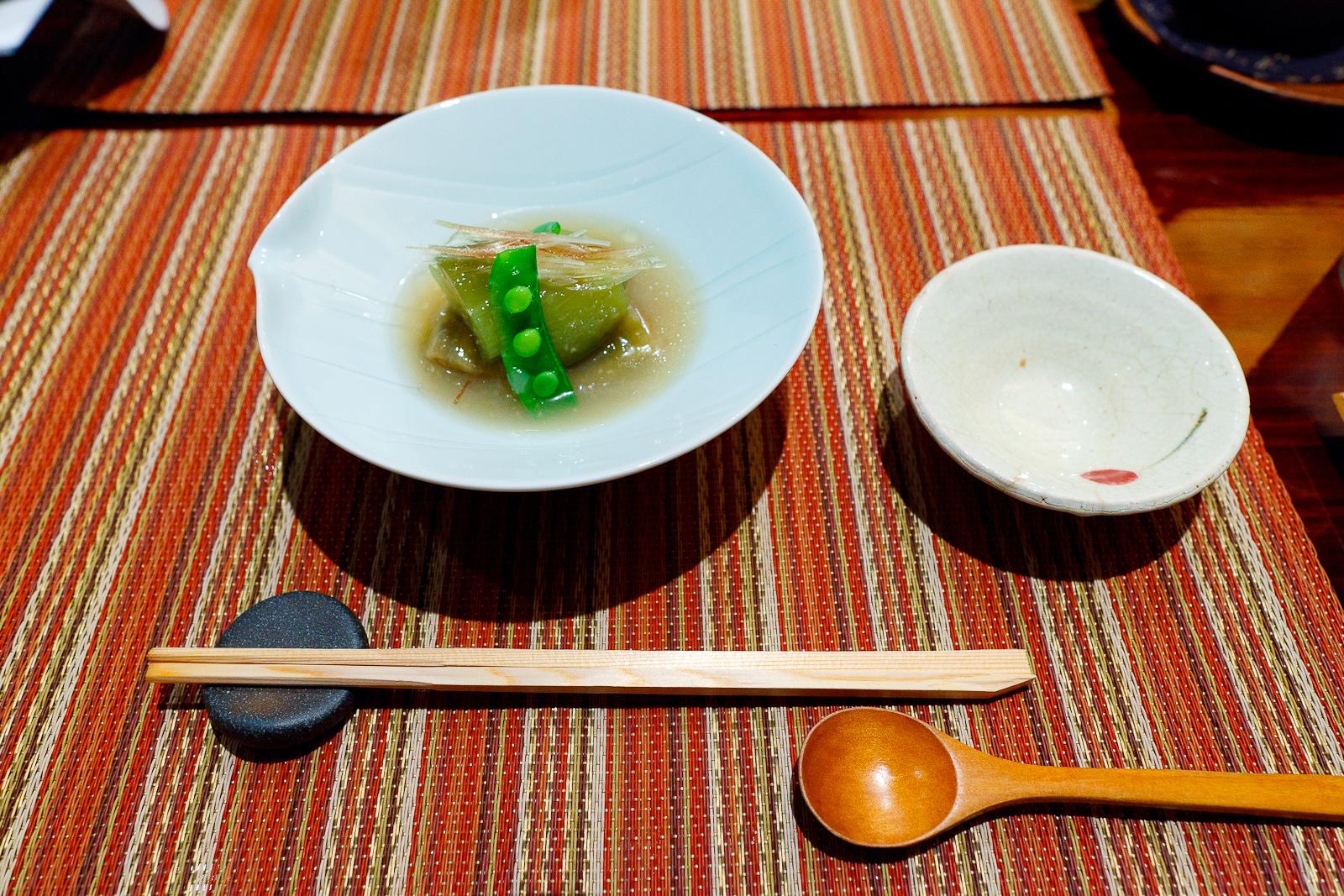 "Jade egg plant, simmered ""Senryo"" egg plant served with cold broth ($11)"