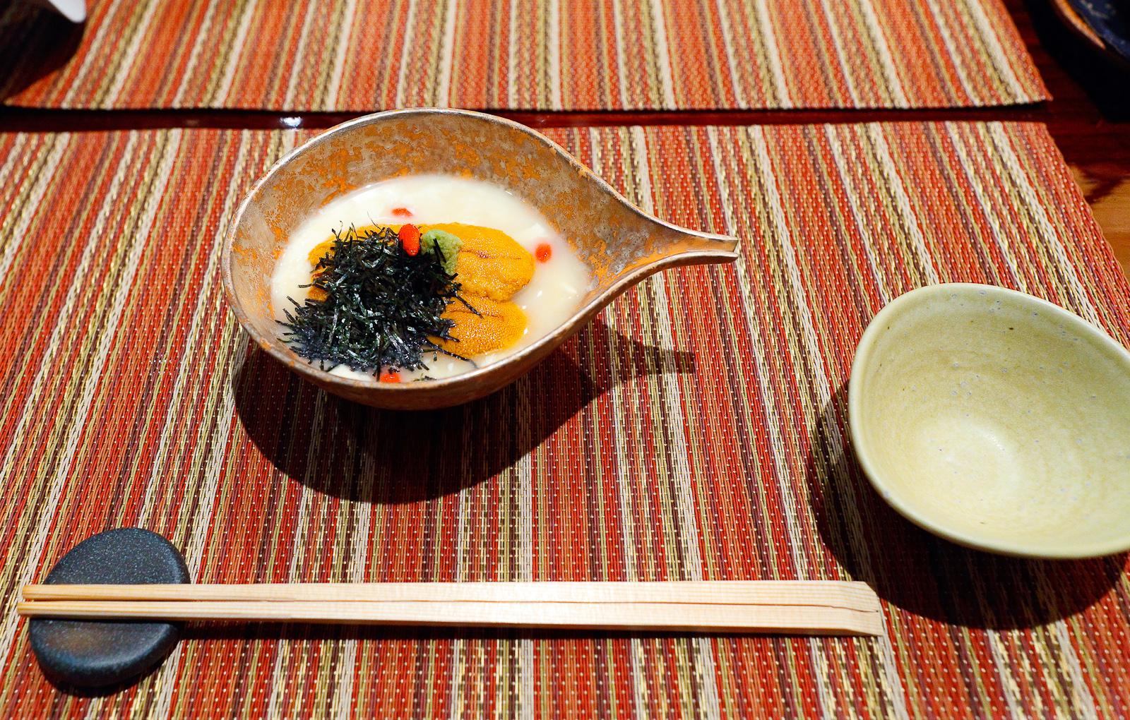 Yuba and uni yoshino style, sea urchin on tofu skin in crystal clear sauce ($14)
