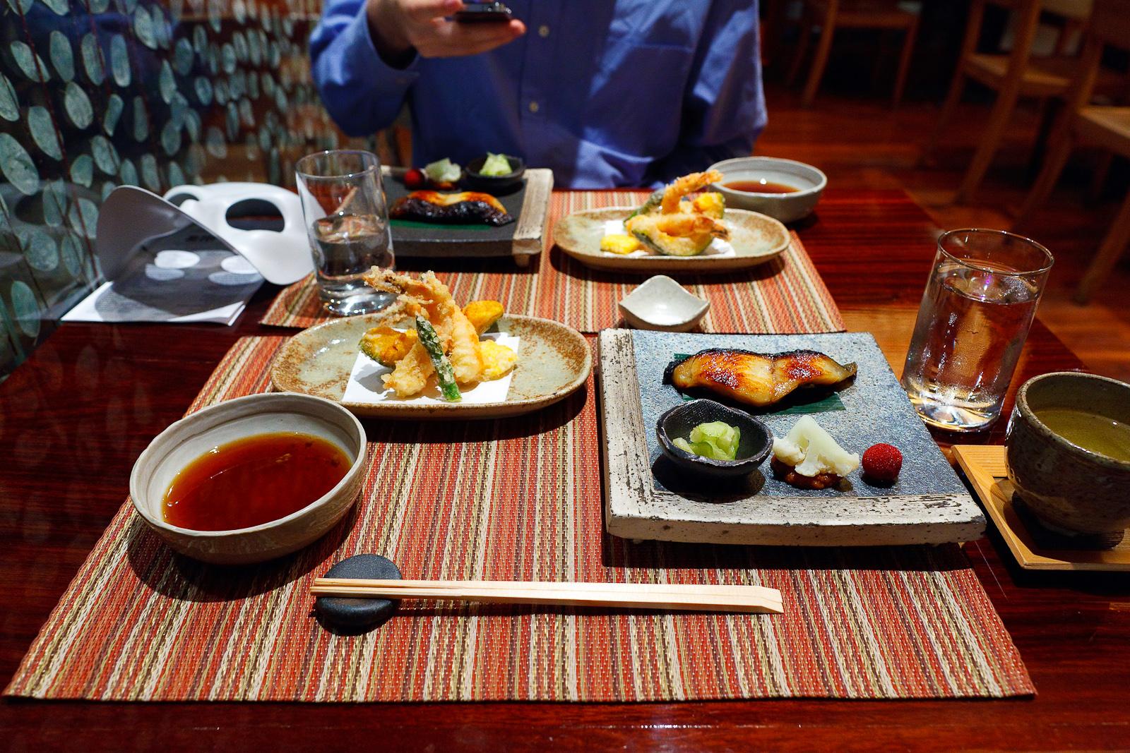 Black cod miso glaze, broiled tsubu marinated cod ($32) with shrimp, squash, and corn tempura