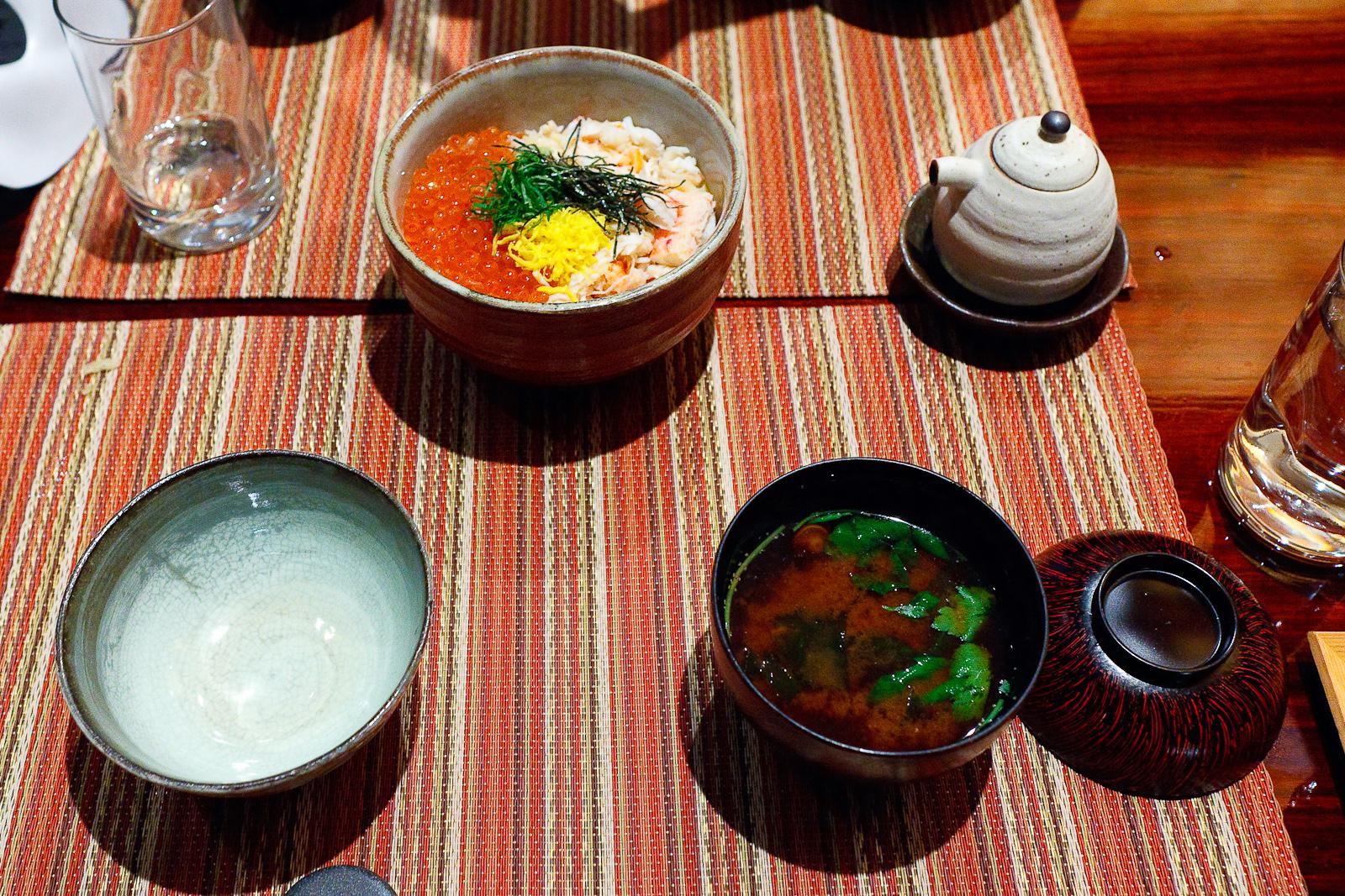 Kani ikura don, Alaskan king crab and dashi-marinated salmon roe over rice ($29) with Akadashi red miso soup ($5)