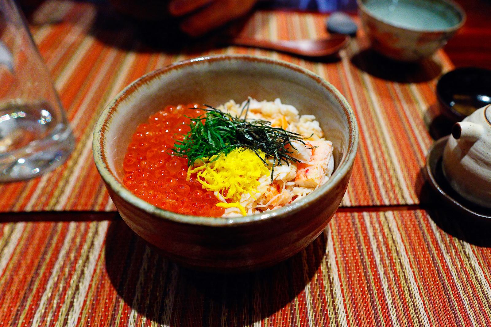 Kani ikura don, Alaskan king crab and dashi-marinated salmon roe over rice ($29)