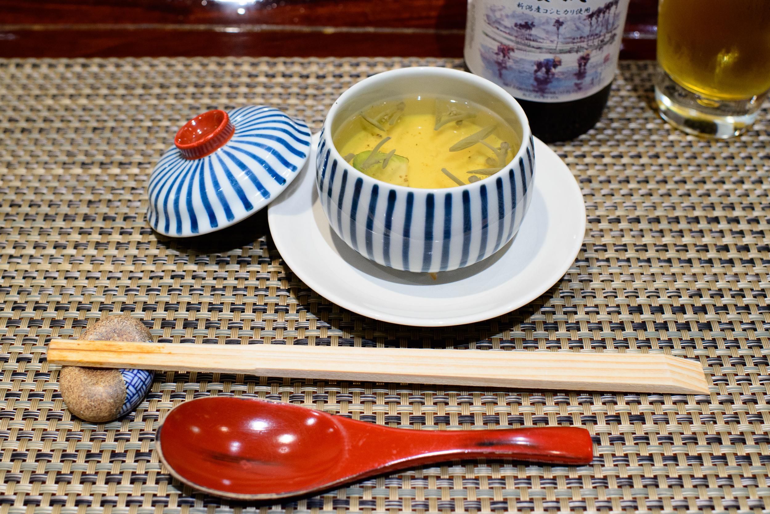 "4th Course - ""Owan"" - Steamed egg curd in Junsai water shield cl"