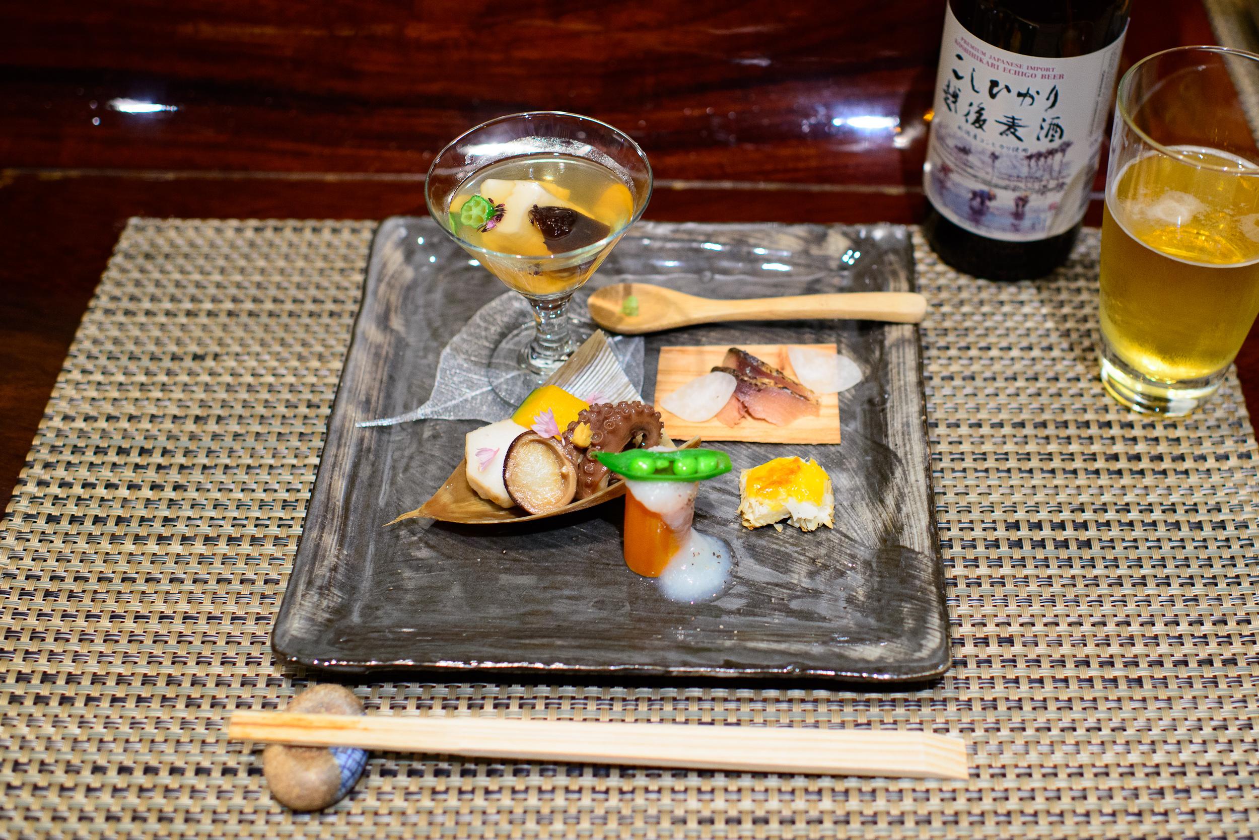 """5th Course: """"Zensai"""" - Simmered baby octopus, potato, pumpkin, h"""