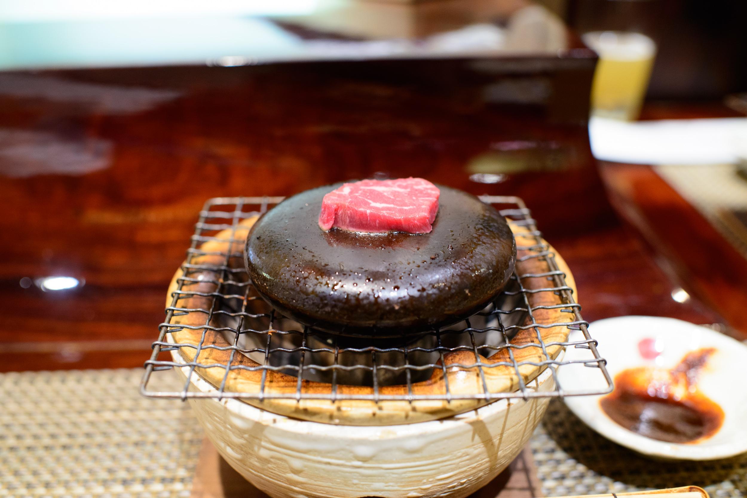 9th Course: Washu Tajima beef on the hot stone grill