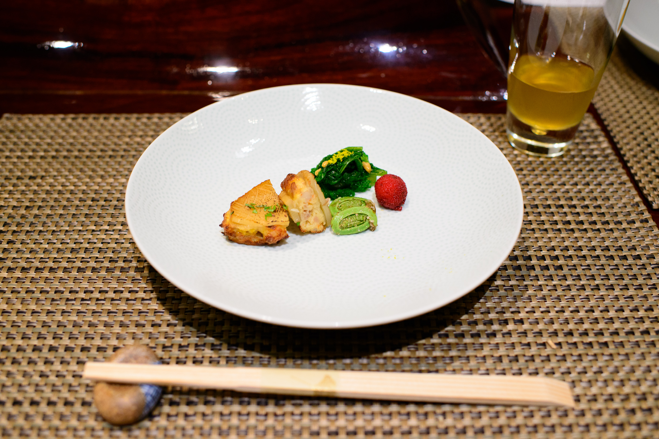 10th Course: Shrimp mousse stuffed grilled bamboo shoot, broccol