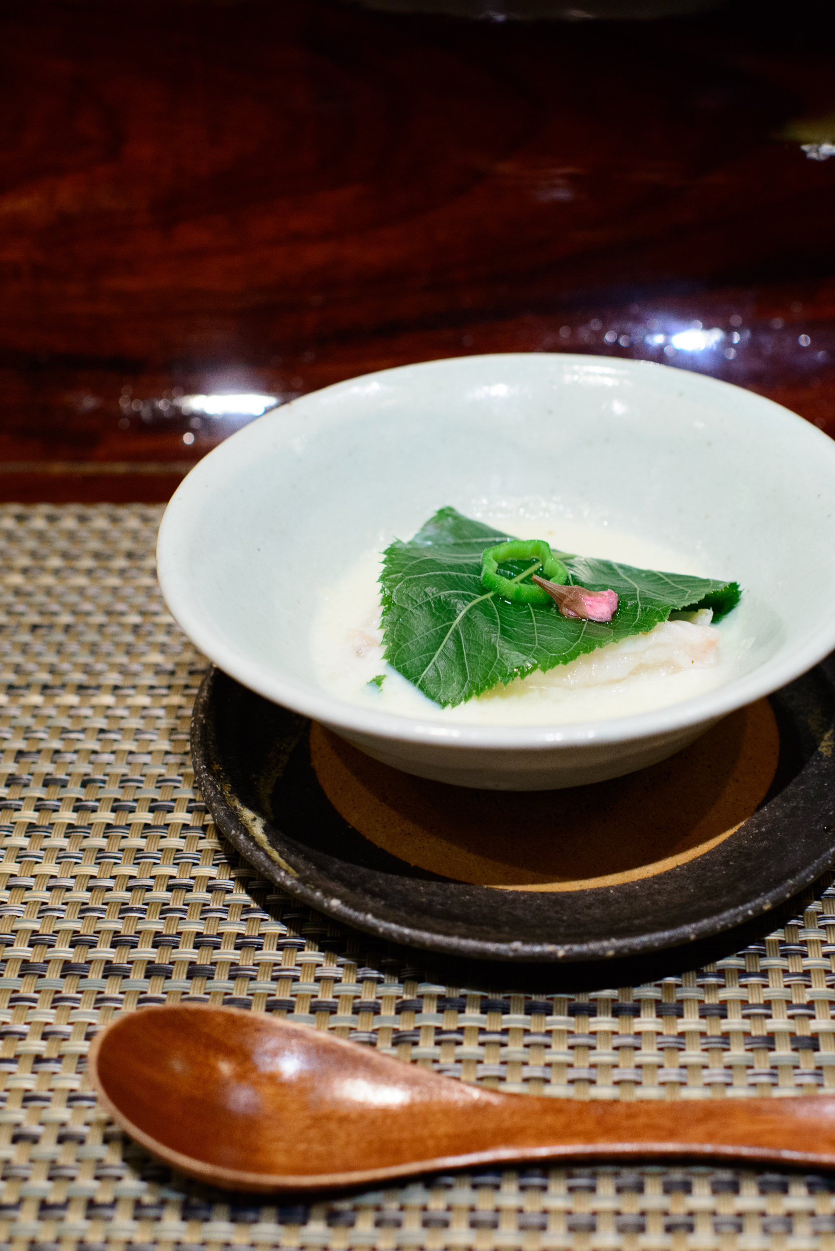 """11th Course: """"Nimono"""" - poached sweet snapper with cherry blosso"""