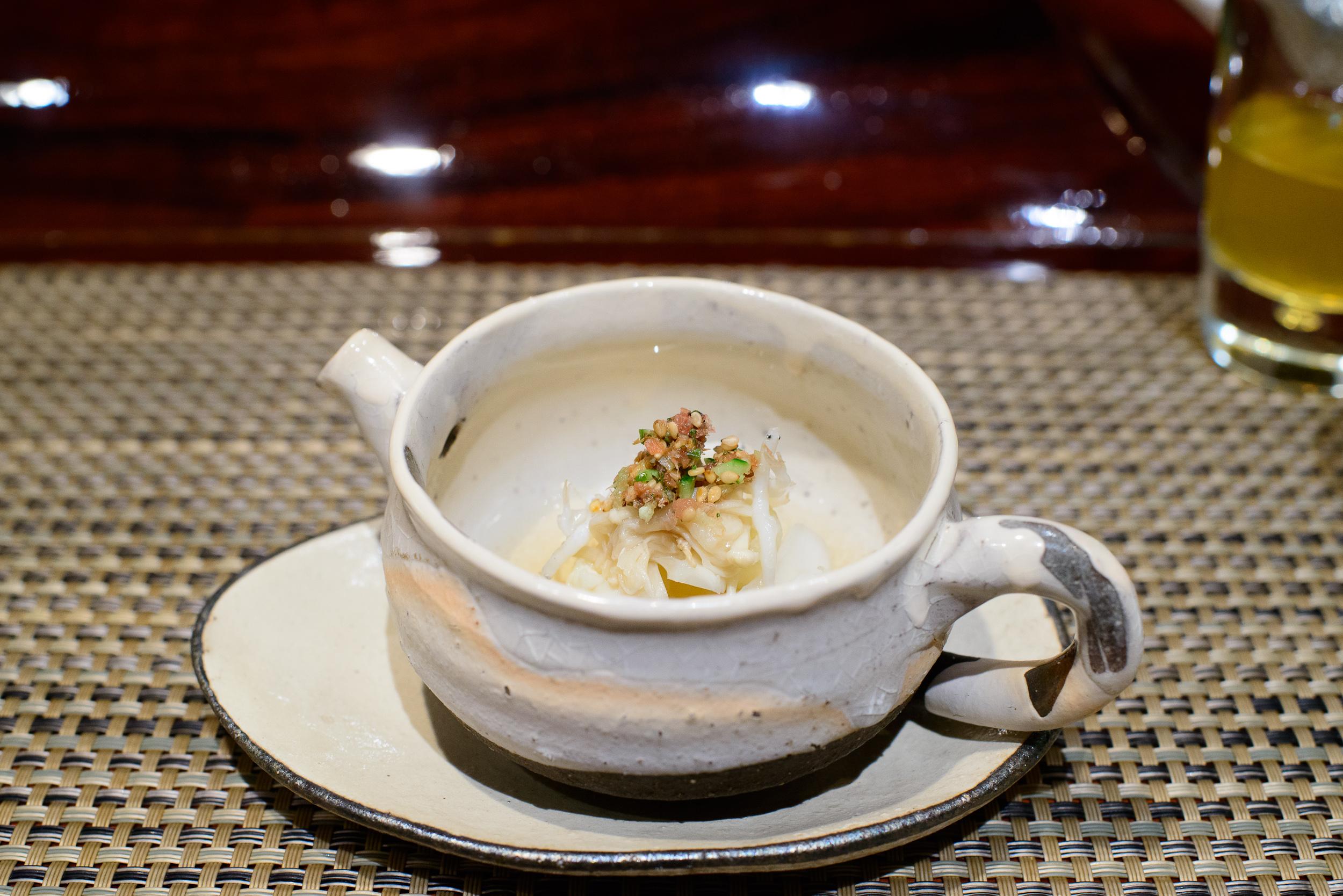 """12th Course: """"Tomezakana"""" - assorted white vegetables and shira-"""