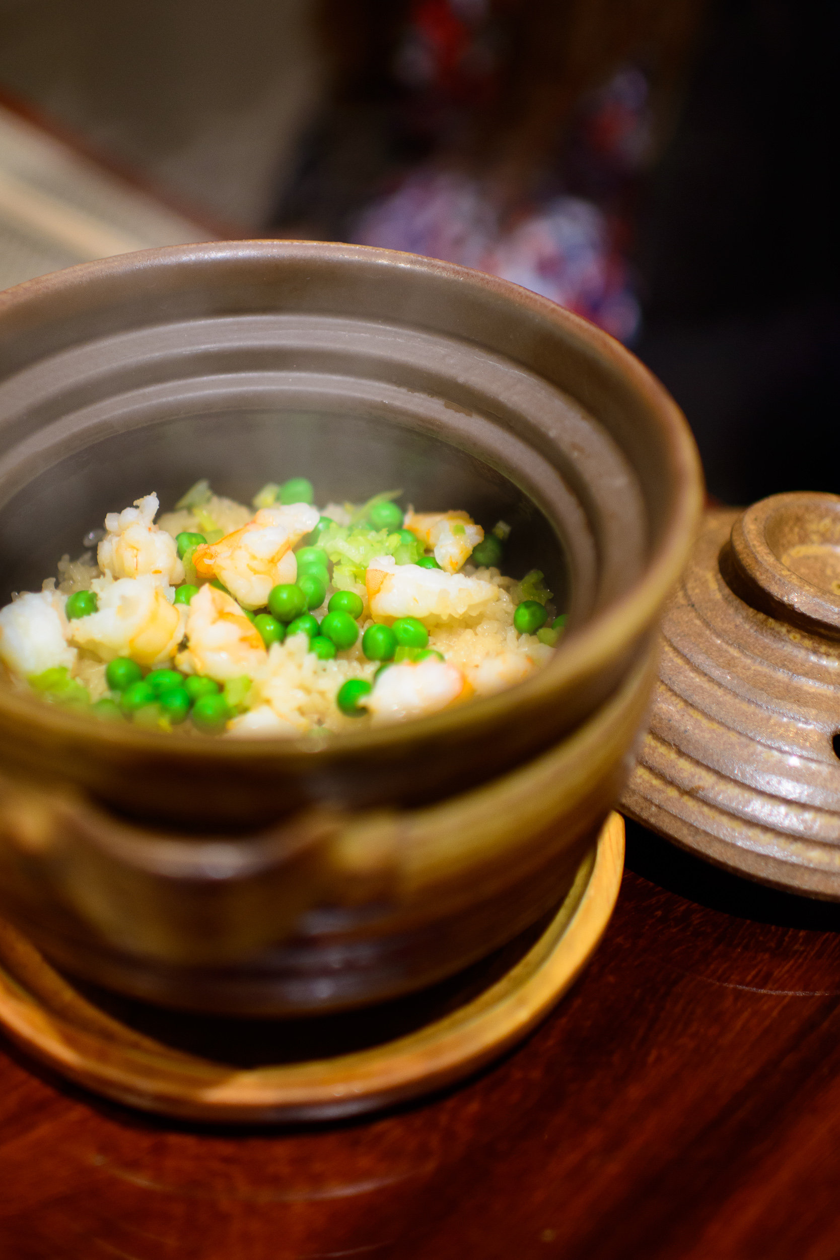 """13th Course: """"Oshokuji"""" - rice cooked with green peas and taisho"""