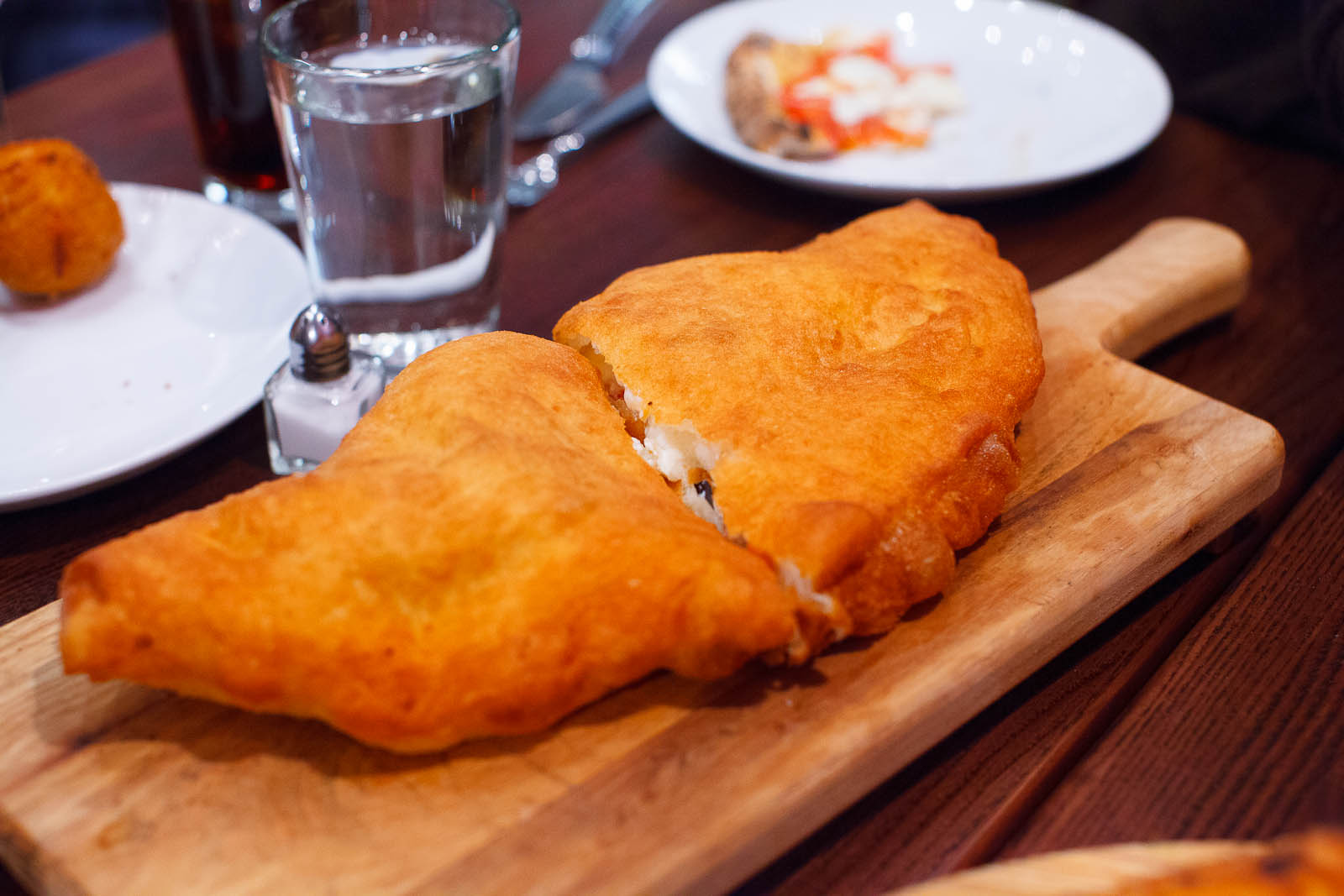Calzone fritto - filled with fresh ricotta, eggplant, grape toma