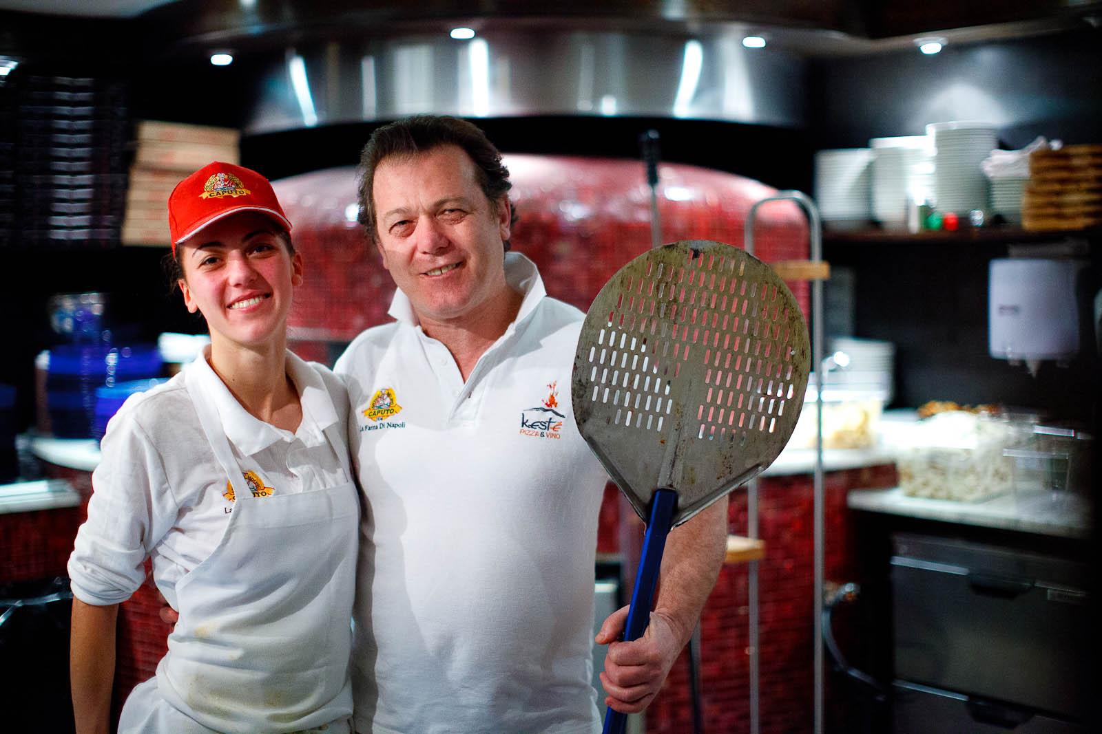 Pizzaioli Roberto Caporuscio and his daughter Giorgia
