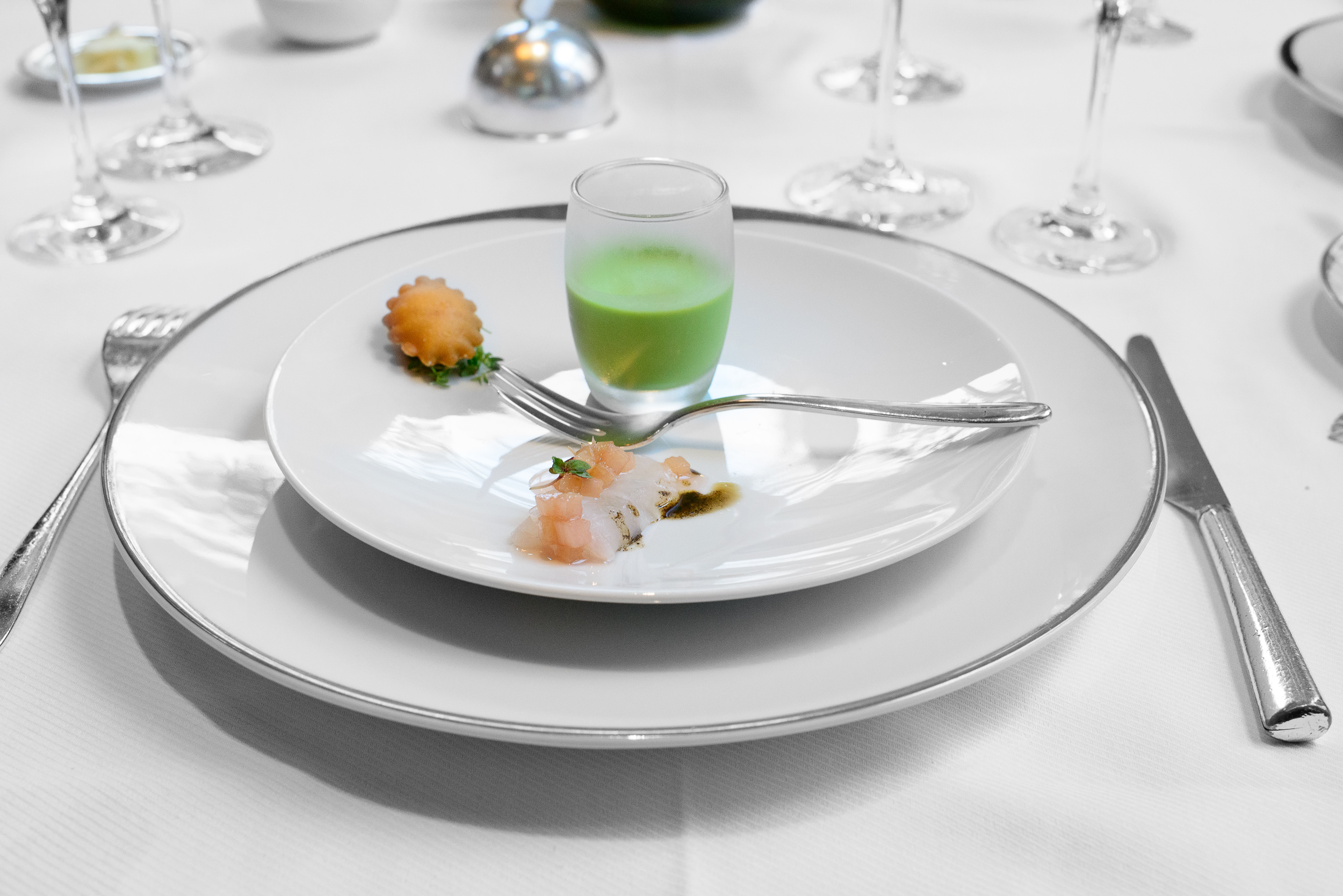 Oyster fritter, almond gazpacho with goat cheese