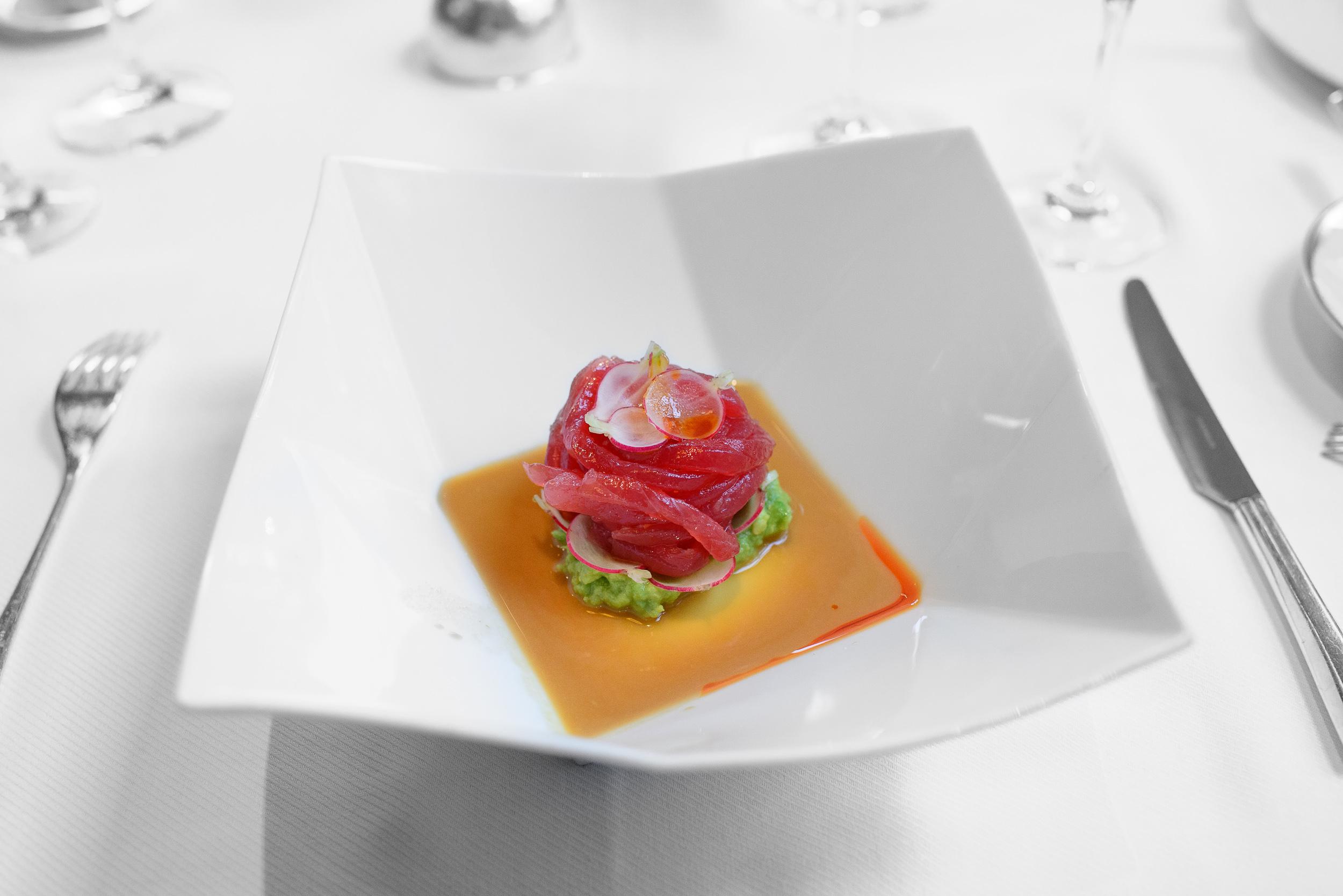 Yellowfin tuna ribbons, avocado, and spicy radish with ginger ma