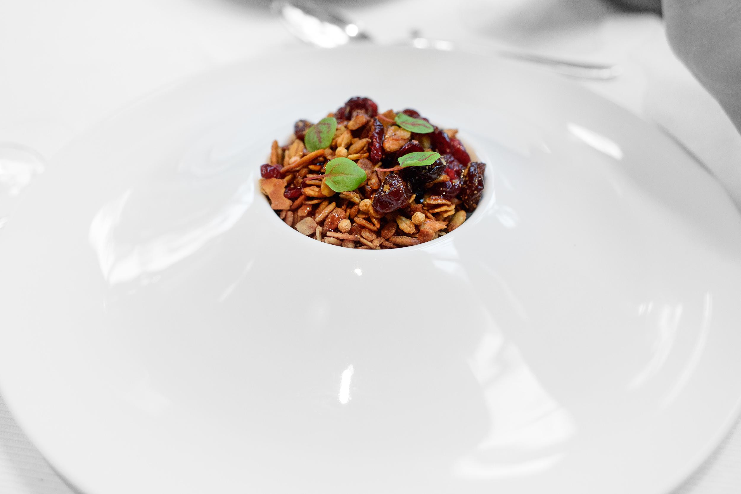 Foie gras, sour cherry granola, aged balsamic and sorrel