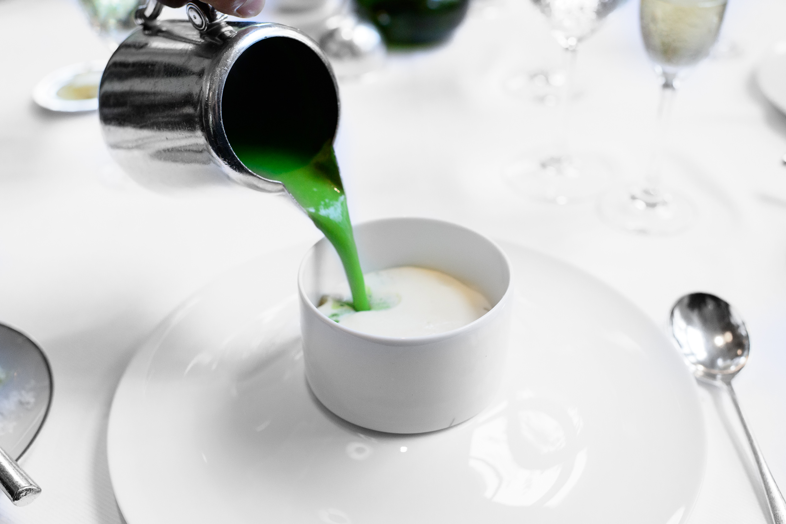 Sweet pea soup with parmesan