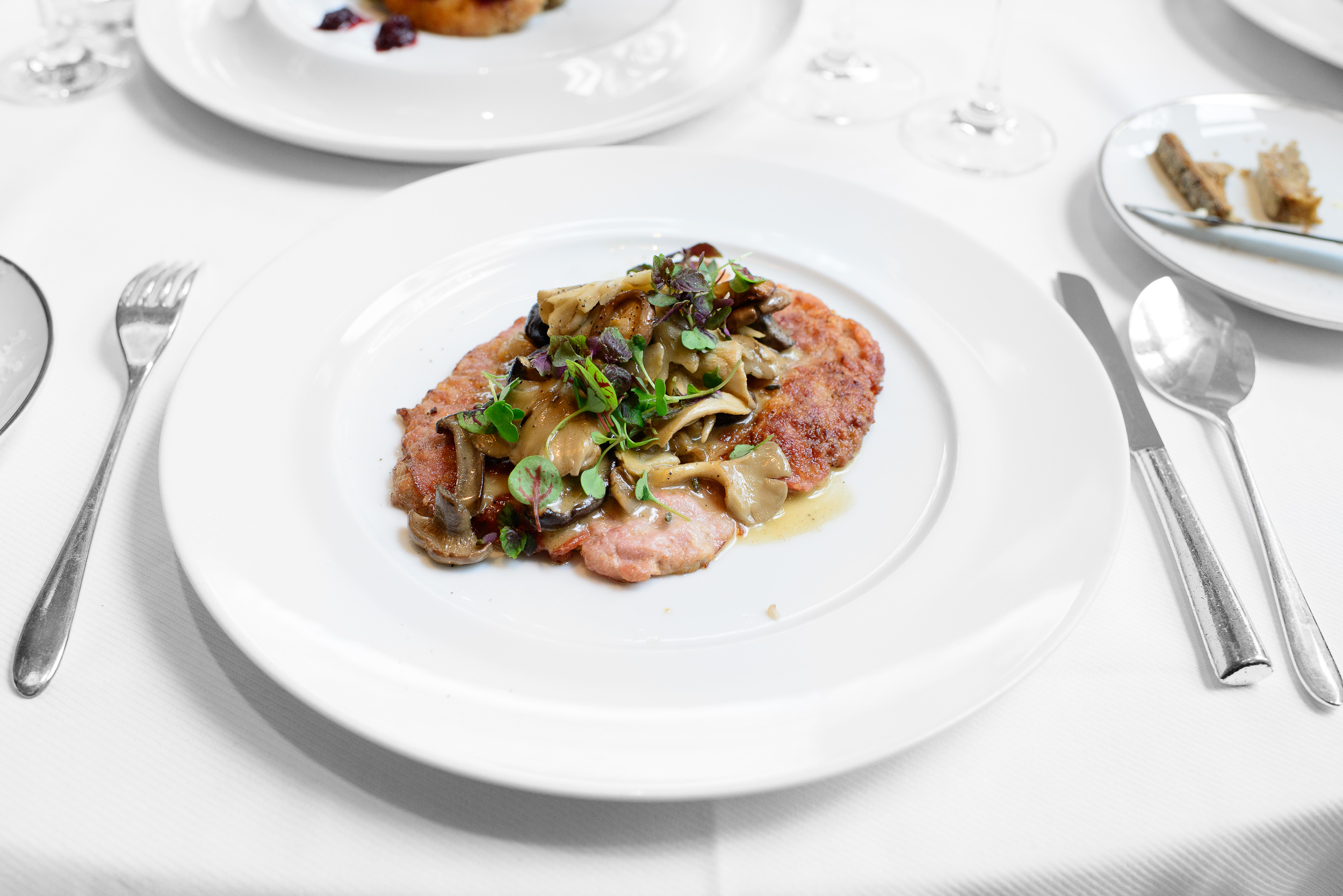 Sauteed veal scallopine, flying pig ham, mushroom, spring onion