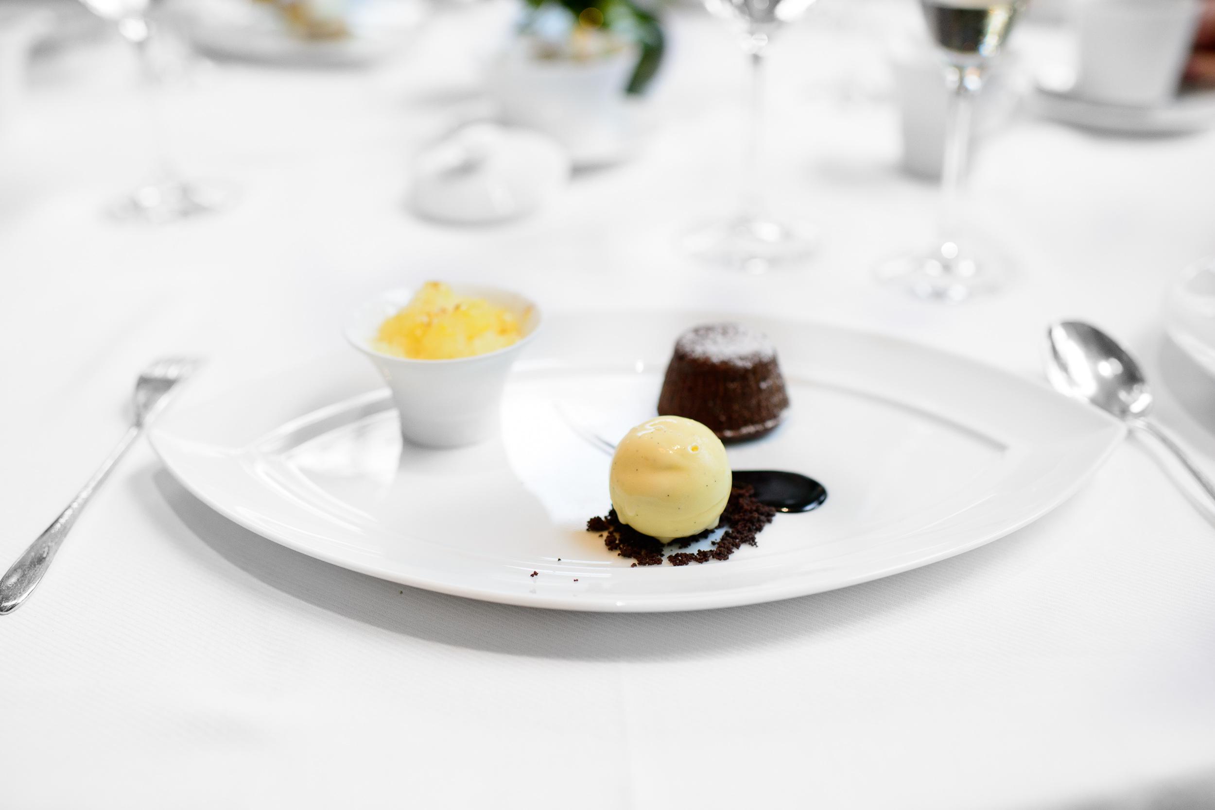 Chocolate - white chocolate meringue, meyer lemon ice and cinnam
