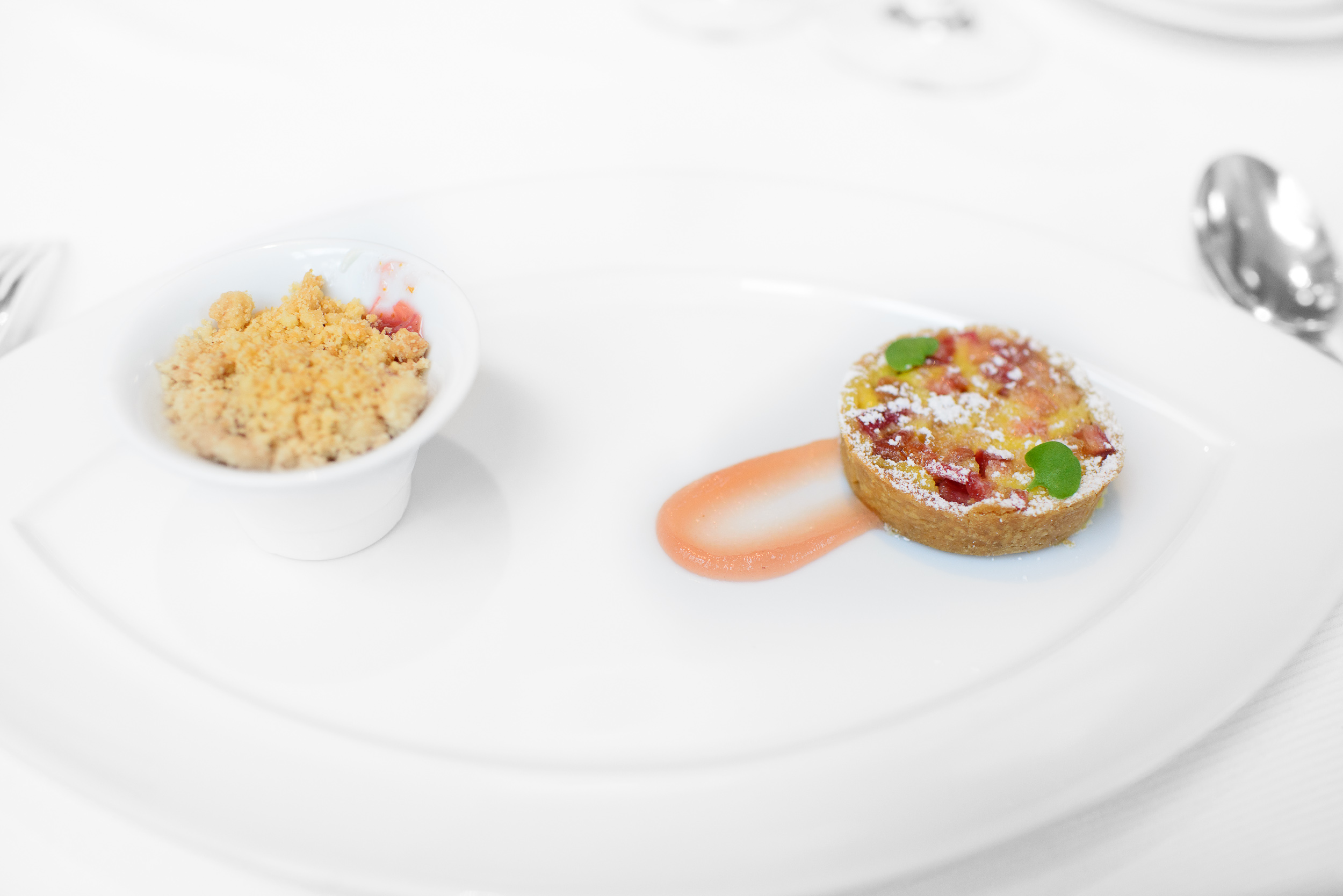 Rhubarb - orange flower yogurt, almond crumble and spiced rhubar