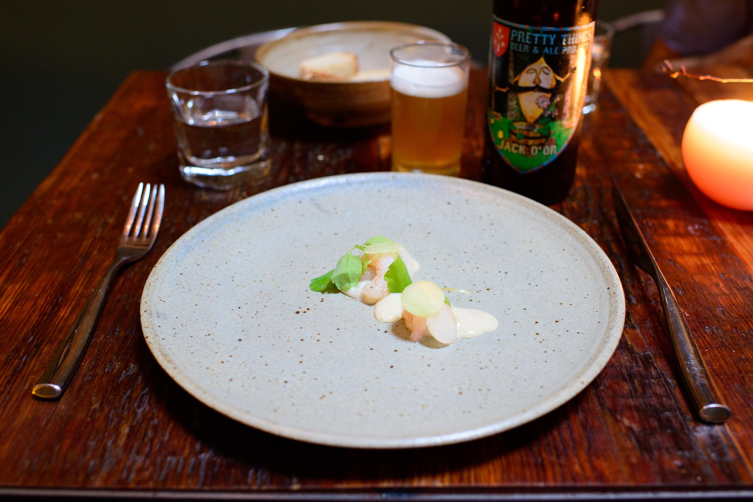 1st Course: Maine shrimp - kohlrabi, cucumber, oyster cream