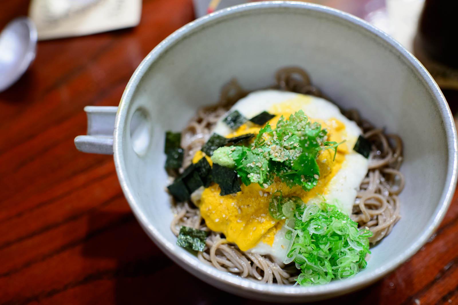 Uni soba - chilled buckwheat noodles with sea urchin sashimi and