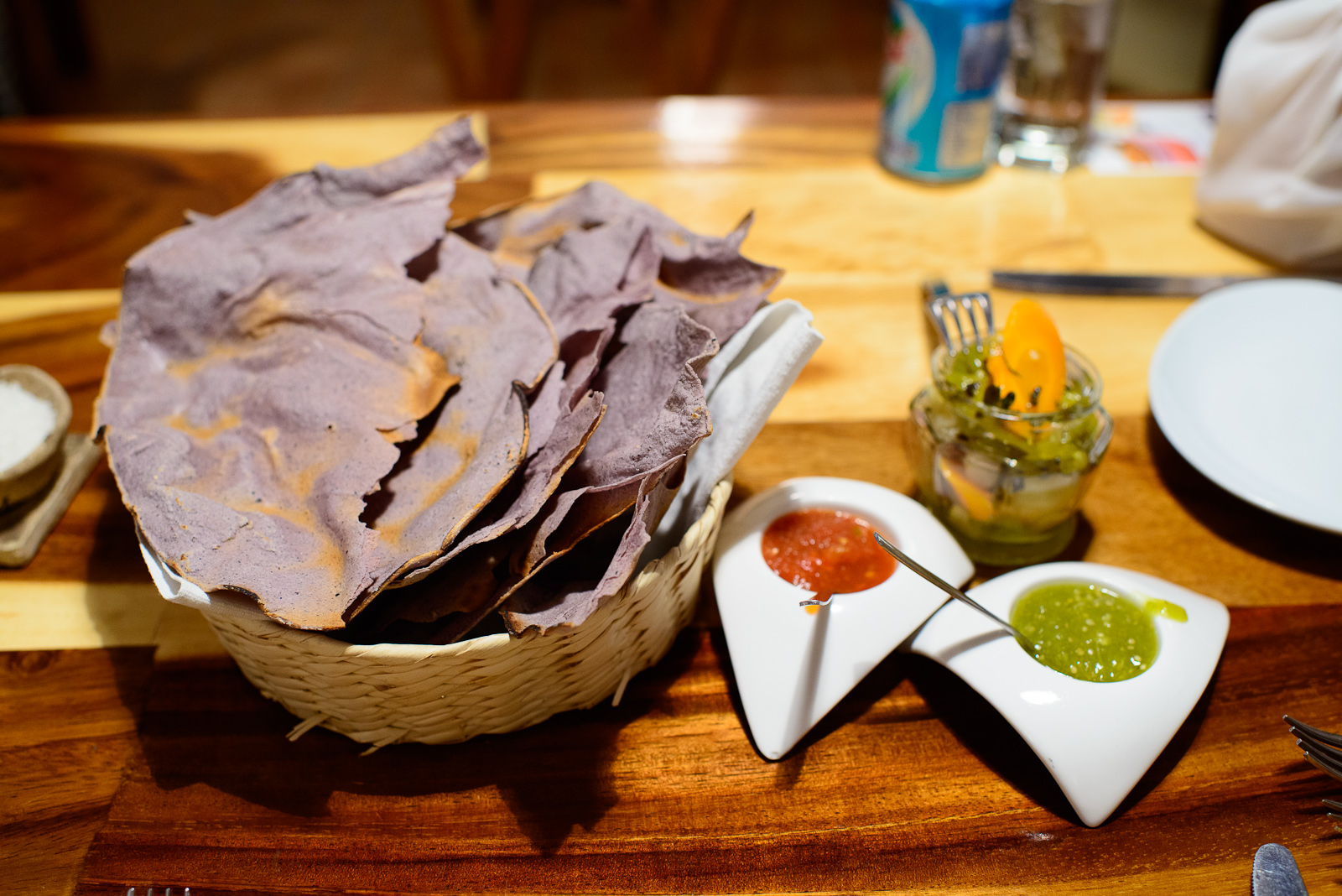 Blue corn totopos, red and green salsa