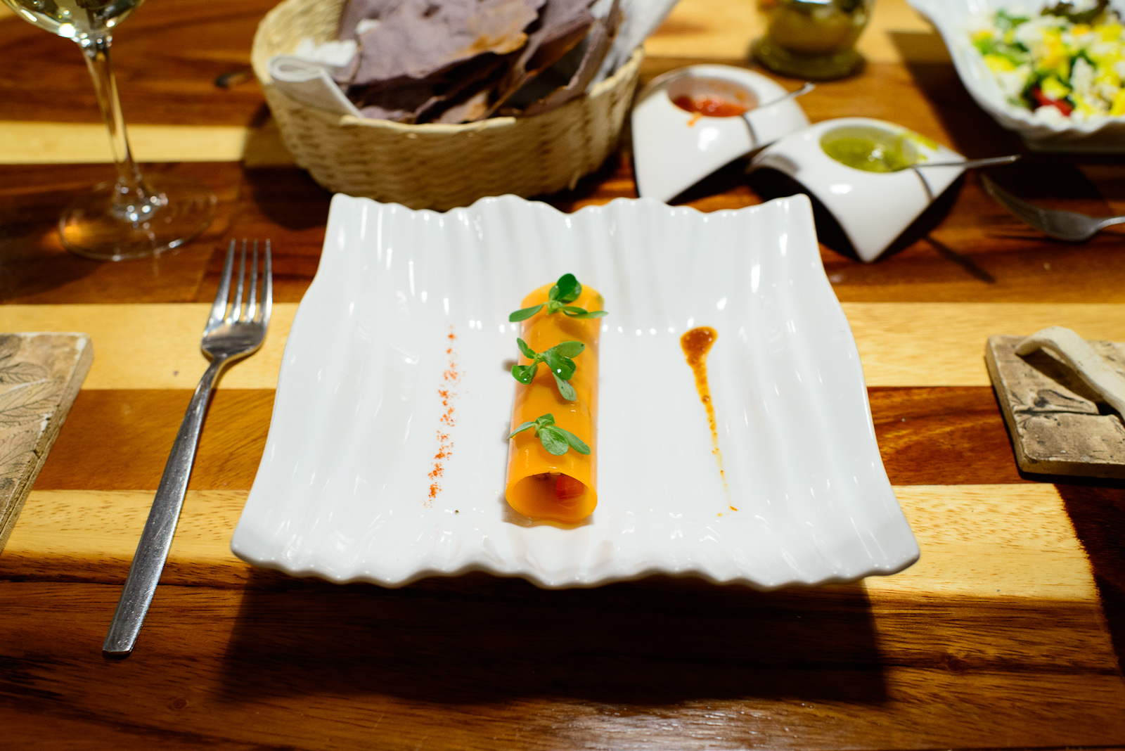2nd Course: Carrot tacos - carrot sheets filled with shrimp cevi