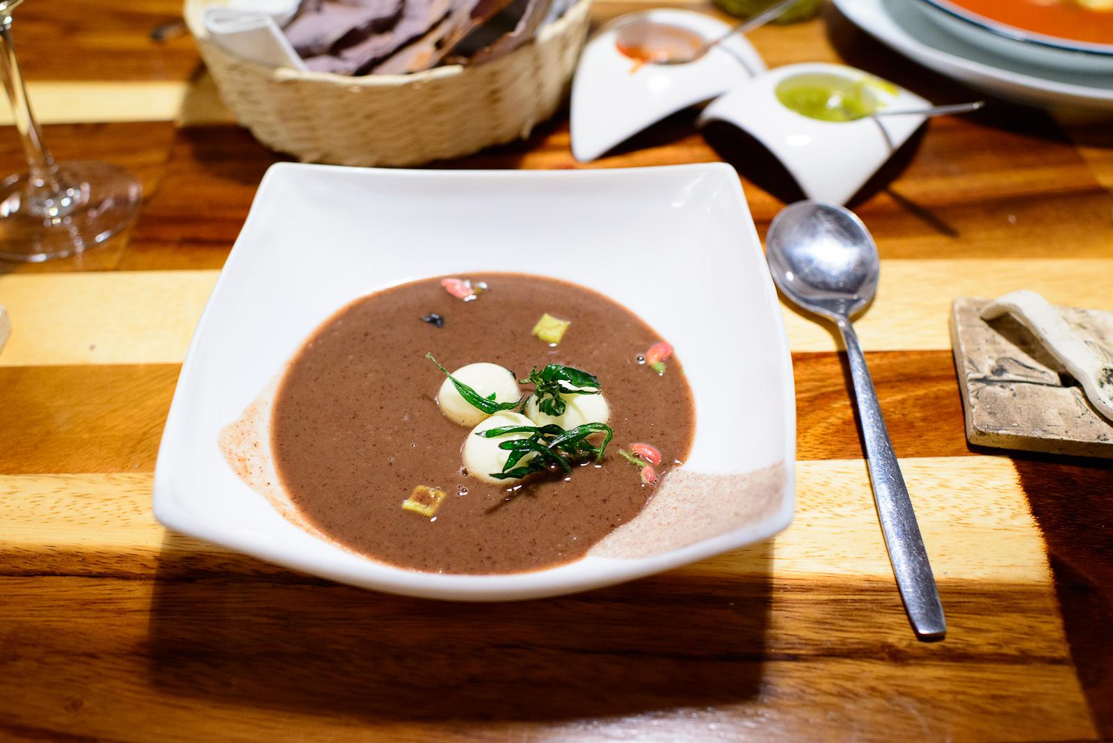 """3rd Course: Bean soup - Avocado, """"hierba de conejo"""" Zapotec herb"""