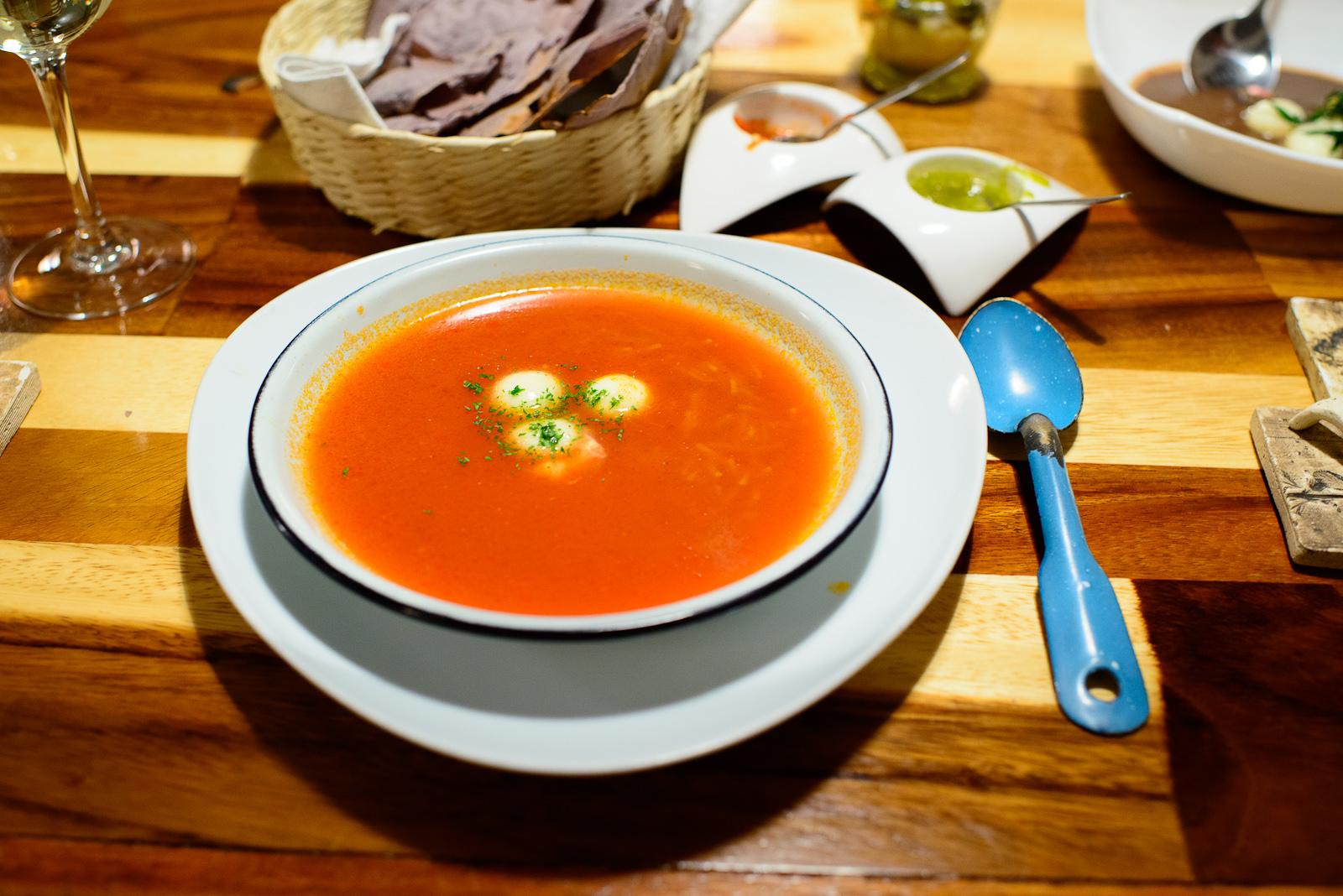 3rd Course: Fideos secos - noodle soup, cream cheese, tomato, an