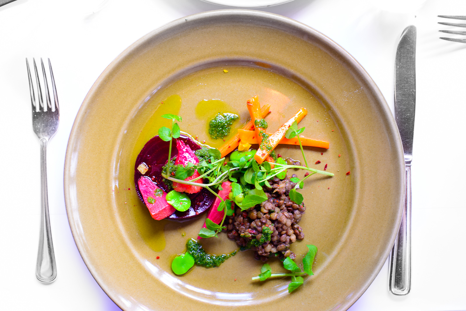 Lentils with preserved lemon, spicy carrots, and marinated beets