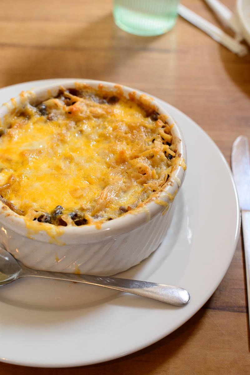 """Casserole-style """"huevos rancheros"""" - Eggs, black beans, tortilla"""
