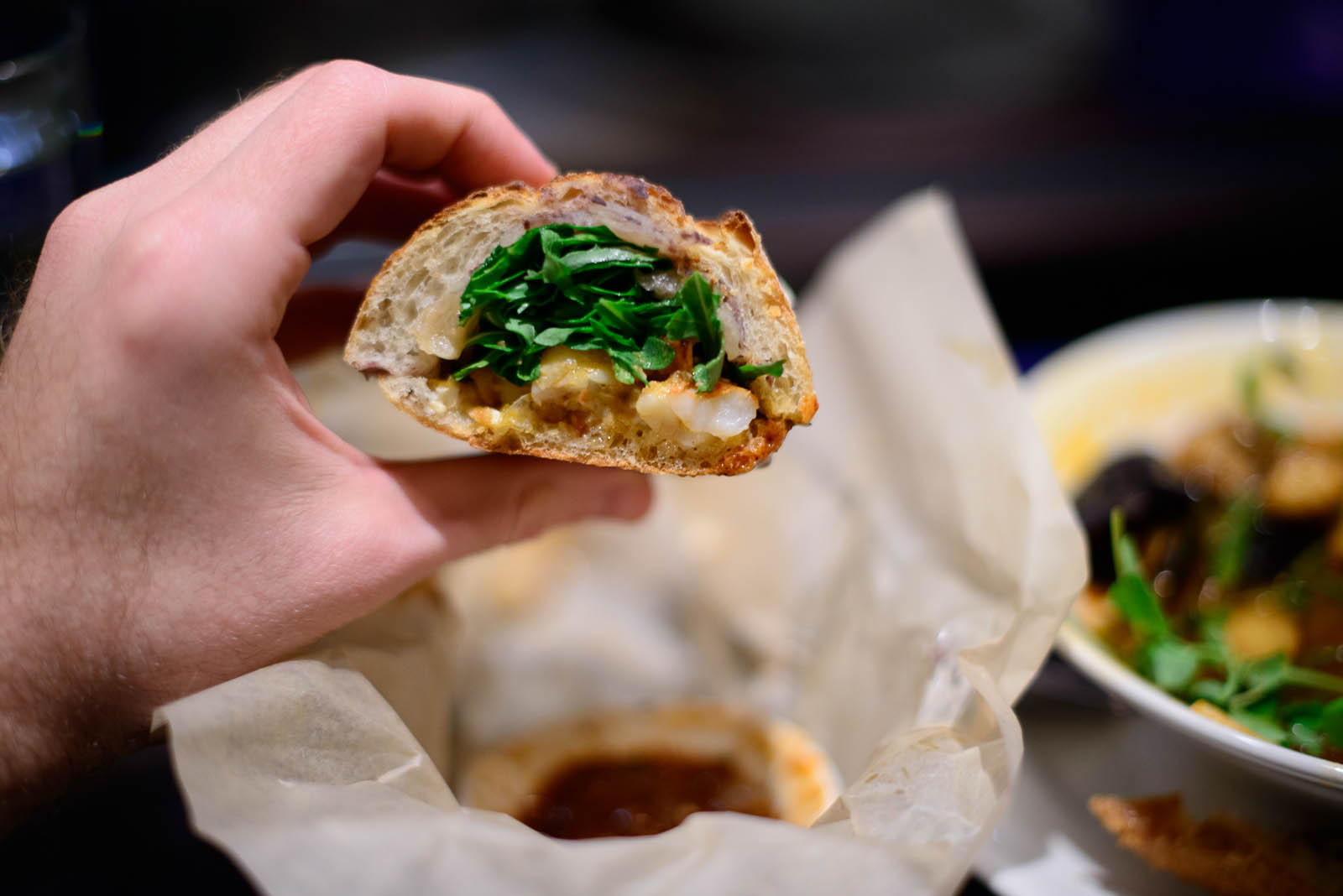 Smoky garlic shrimp torta - Seared shrimp, chipotle-garlic mojo,