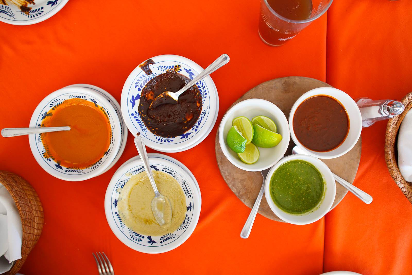 Mole tasting: mole verde, pipian rojo, and mole poblano