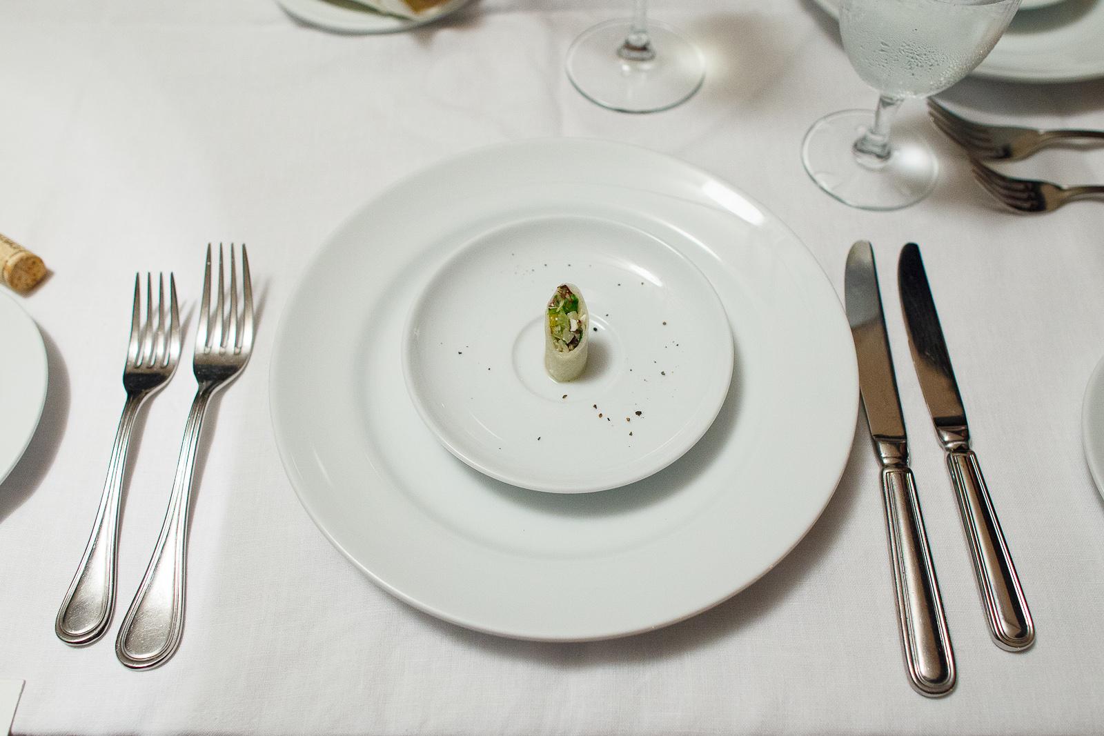 Amuse bouche: rollo de verdura