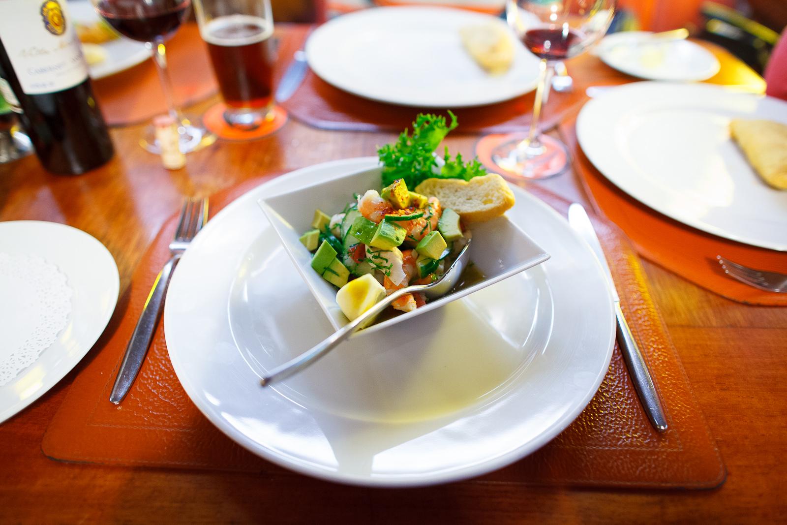 Ceviche of scallops, shrimp, and white fish