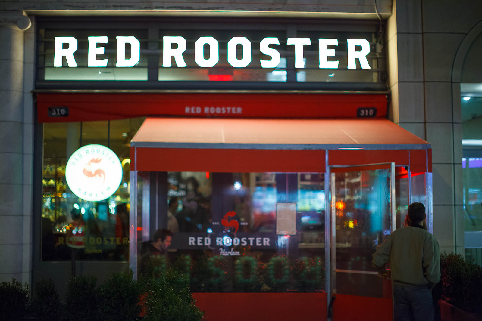 Red Rooster at night