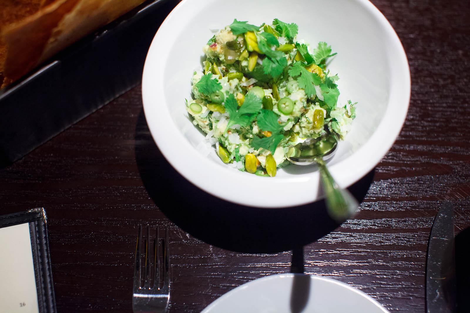 Guacamole with Pistachios andMasa Crisps ($12)