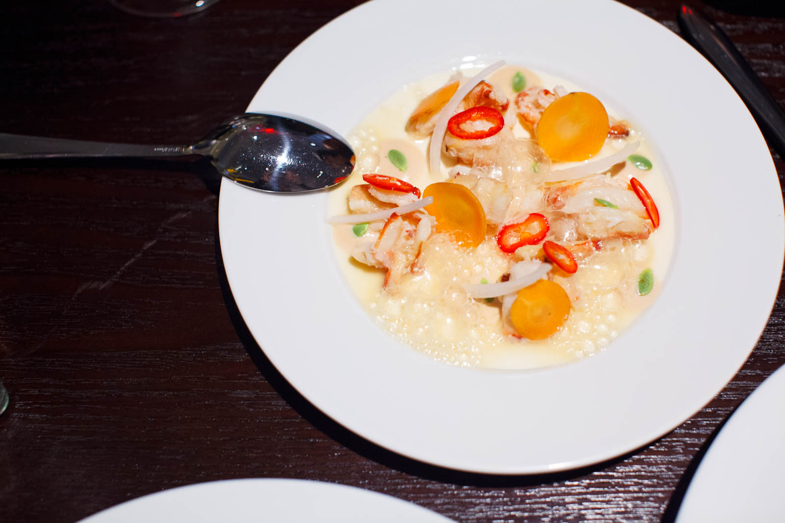 Peeky Toe Crab with Parsnip Juice,Crab Flan and Smoked Cashew S