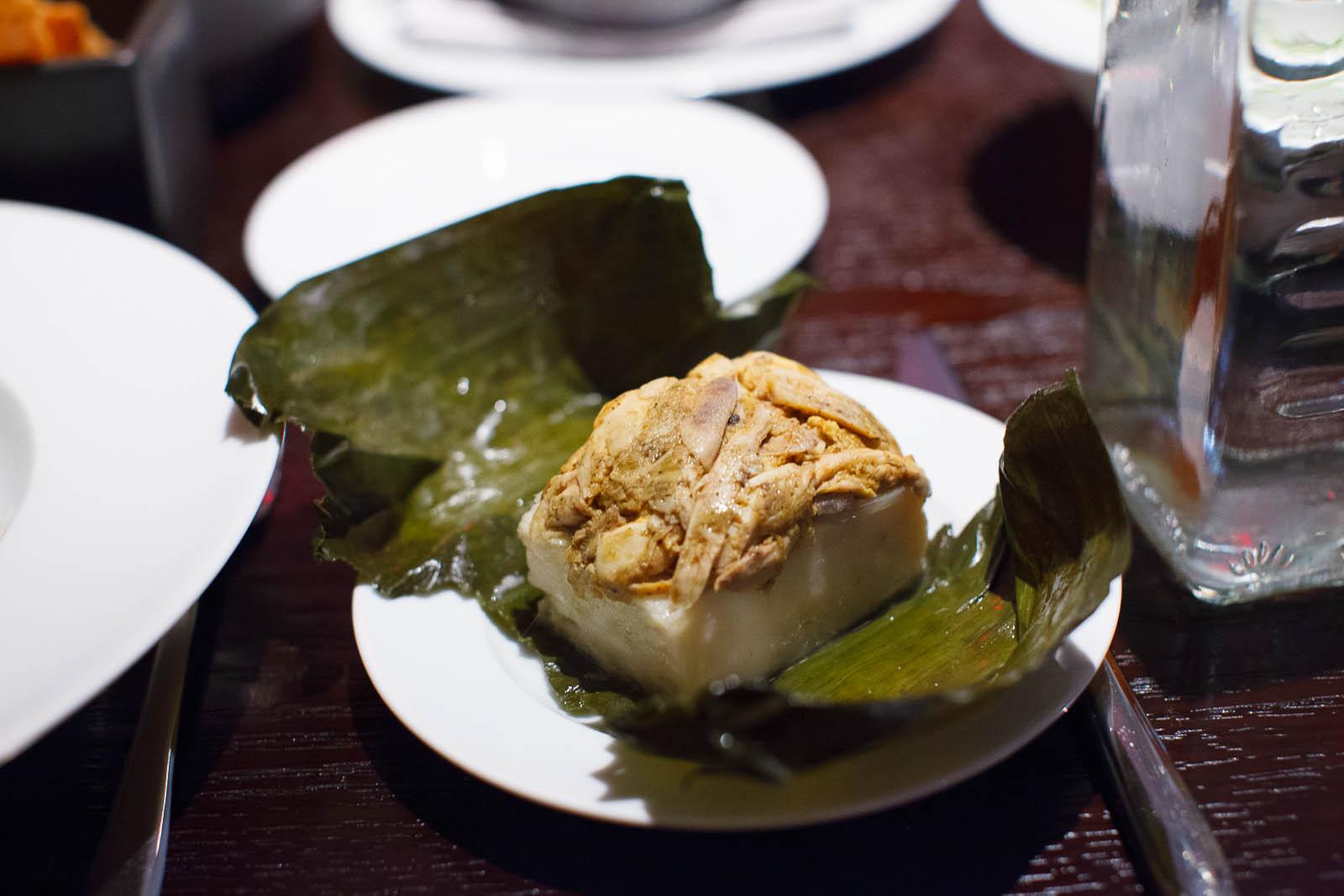 Tamal Colado (Yucatan style strained tamal, chicken, achiote) op