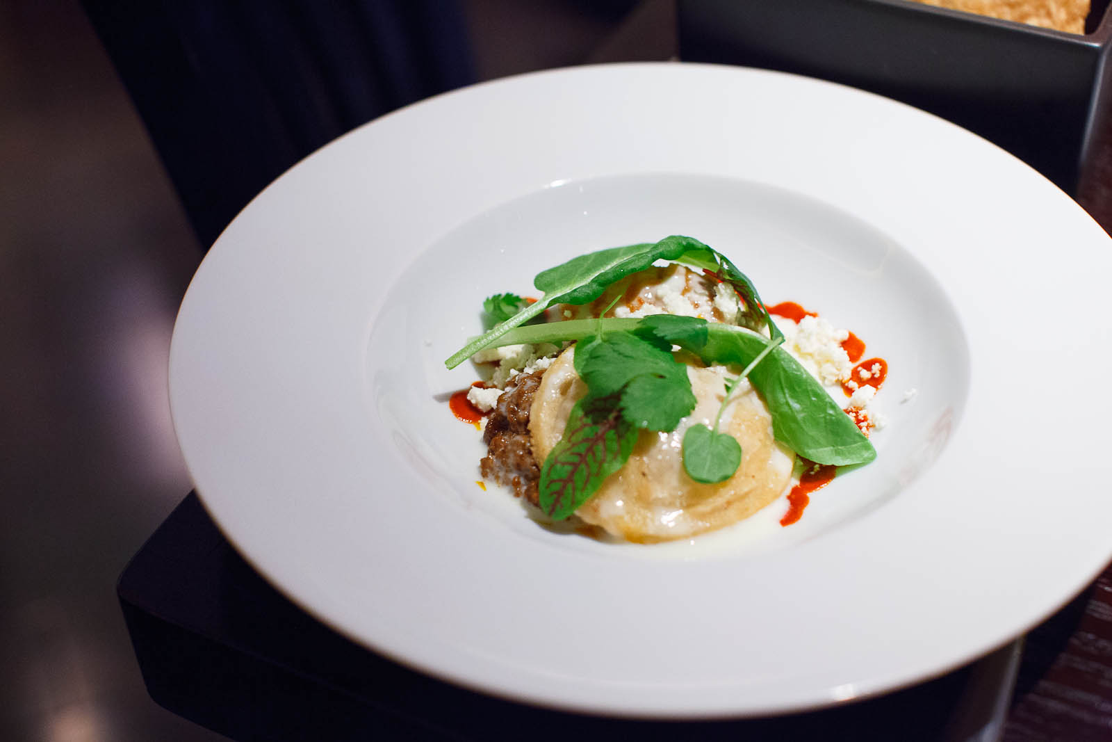 Gordita with Sweet Potato, Chorizoand Egg Yolk ($9)