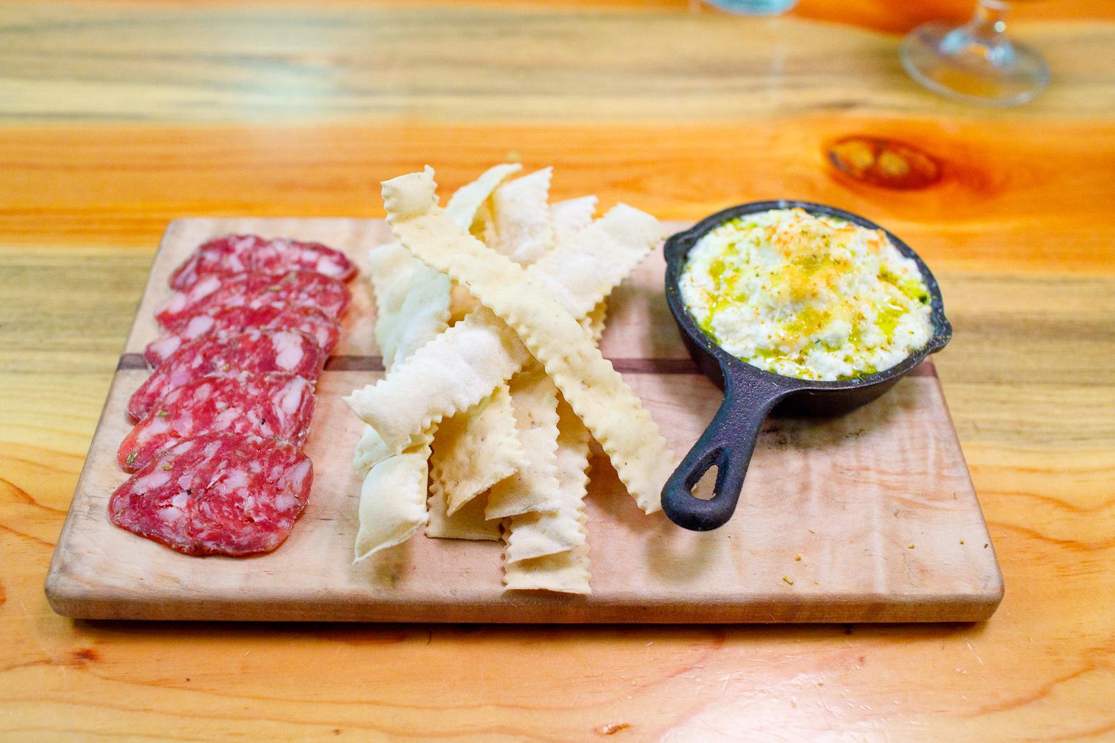 Salumi board: prosciutto (richmond, va), hot coppa (denver, co), americano (salt lake city, ut), pickles ($16)