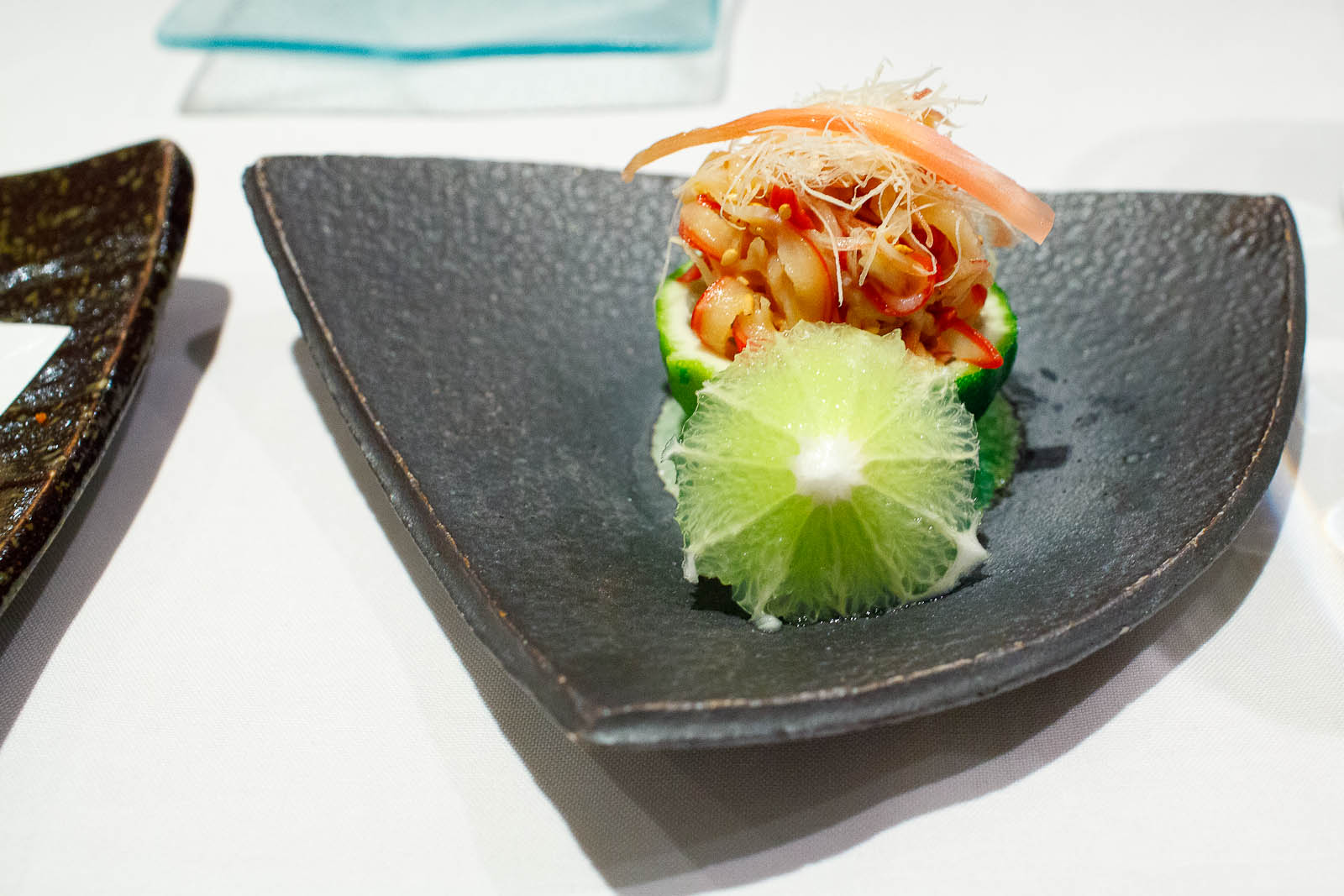Hokki nuta - thinly sliced surf clam with myoga ginger shoots an