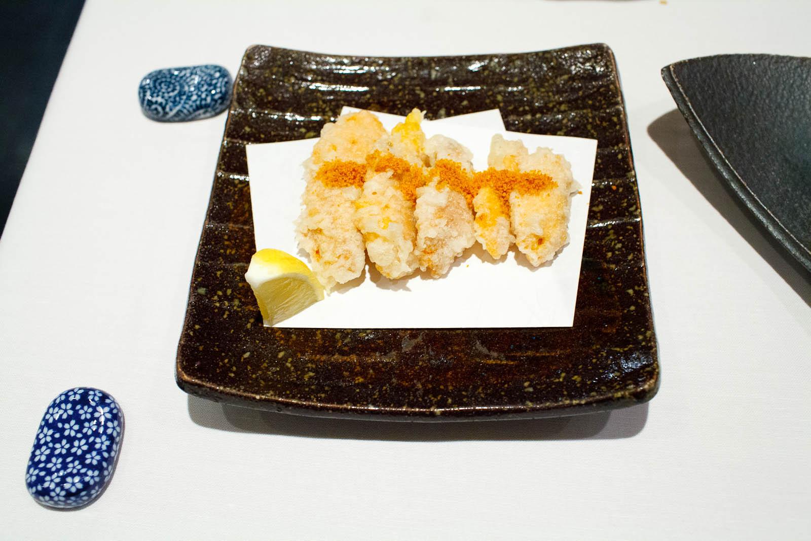 Uni tempura with uni powder - deep fried sashimi quality sea urc