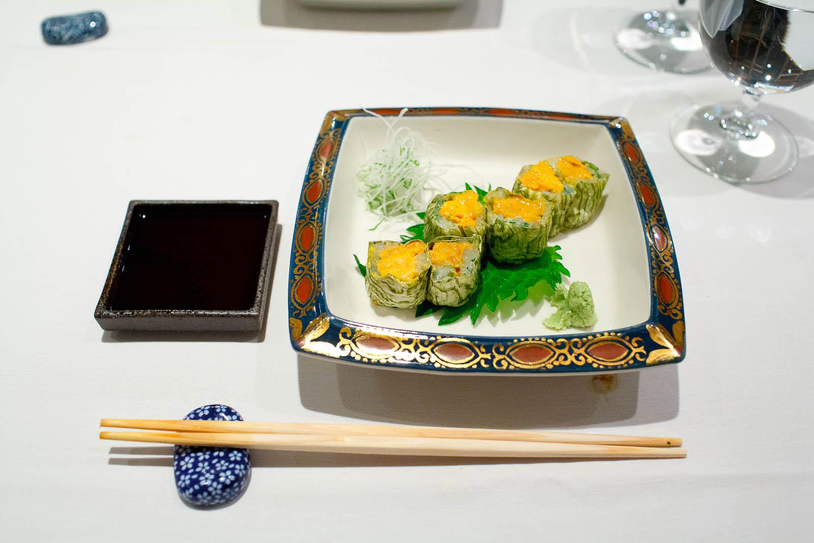 Uni ika kelp - Sea urchin sashimi and shiso squid, rolled in whi