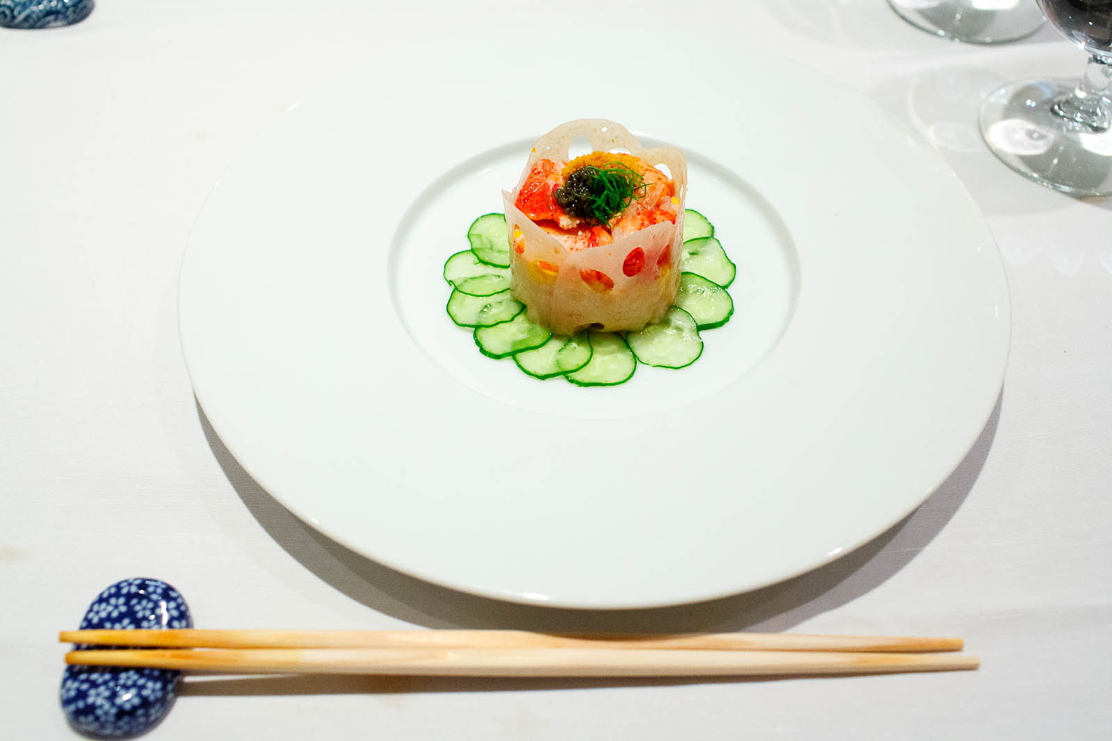 Steamed lobster with uni mousse - layers of steamed Maine lobste