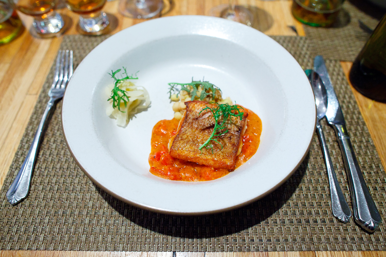 11th Course: snapper, tomato gravy, pickled vegetables