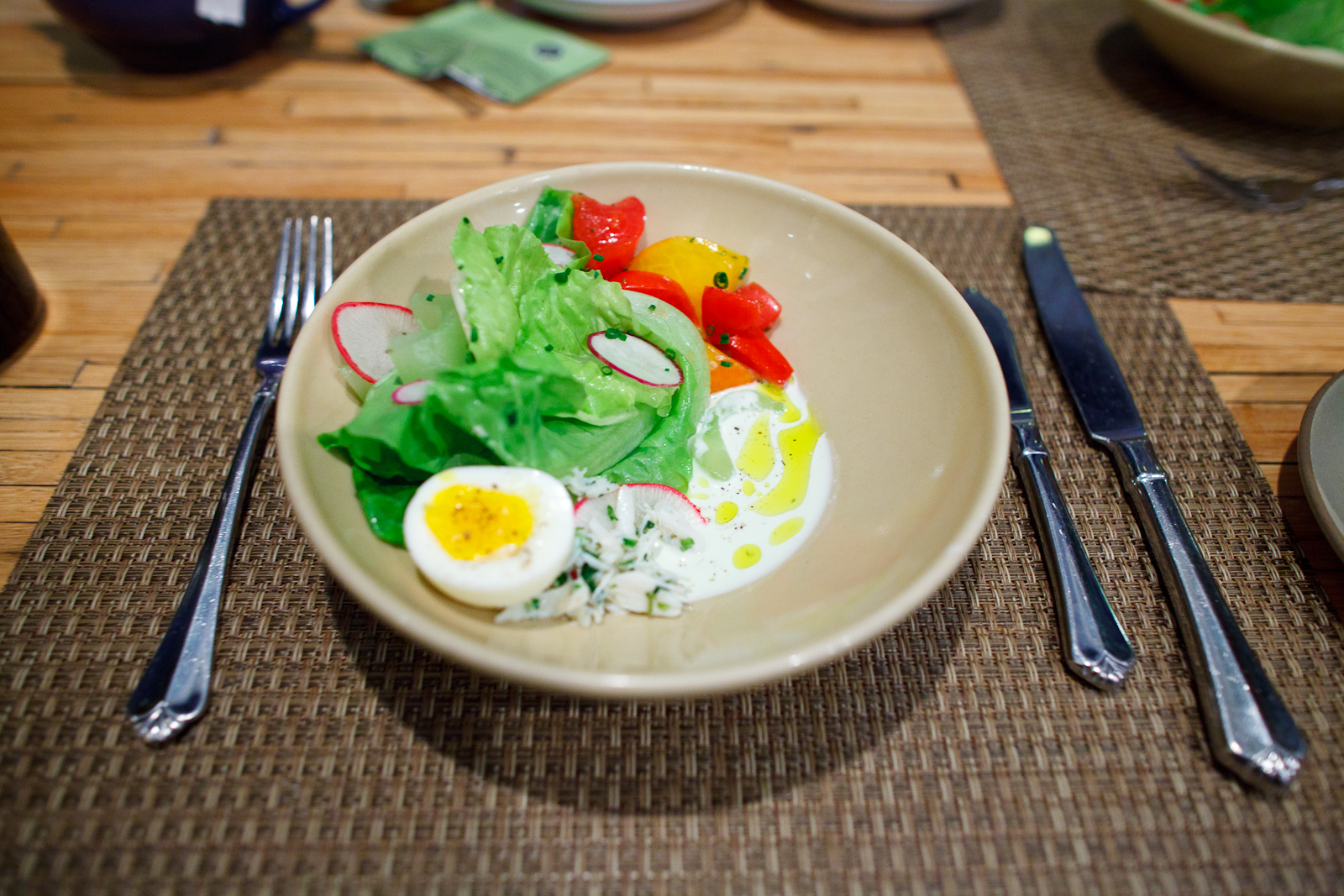4th Course: Kurios Farms Bibb Lettuce with SC Blue Crab, Soft Boiled Egg, Heirloom Tomatoes, Shaved Radish and Cucumber Buttermilk