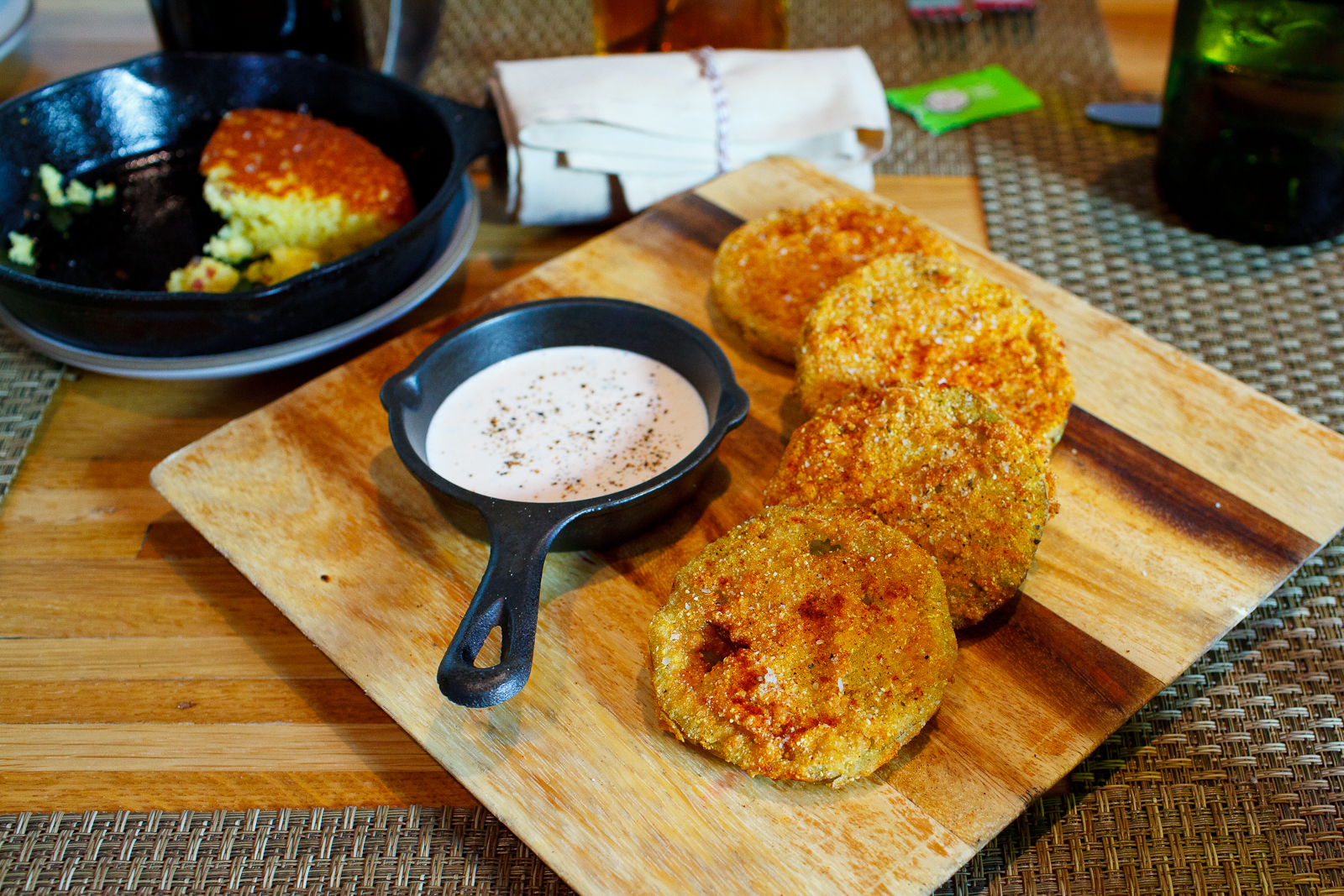 Fried Green Tomatoes with TN Cheddar Pimento Cheese and Surryano Country Ham